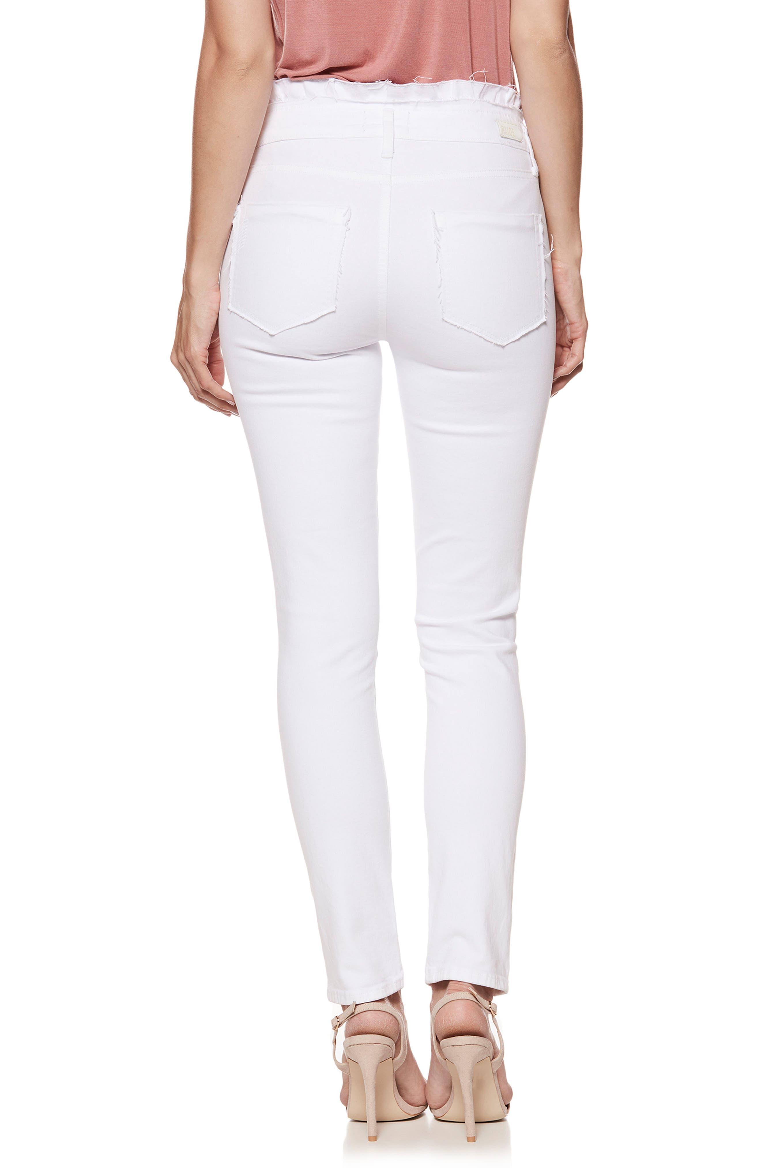 Hoxton Ruffle High Waist Ankle Ultra Skinny Jeans,                             Alternate thumbnail 3, color,                             Crisp White