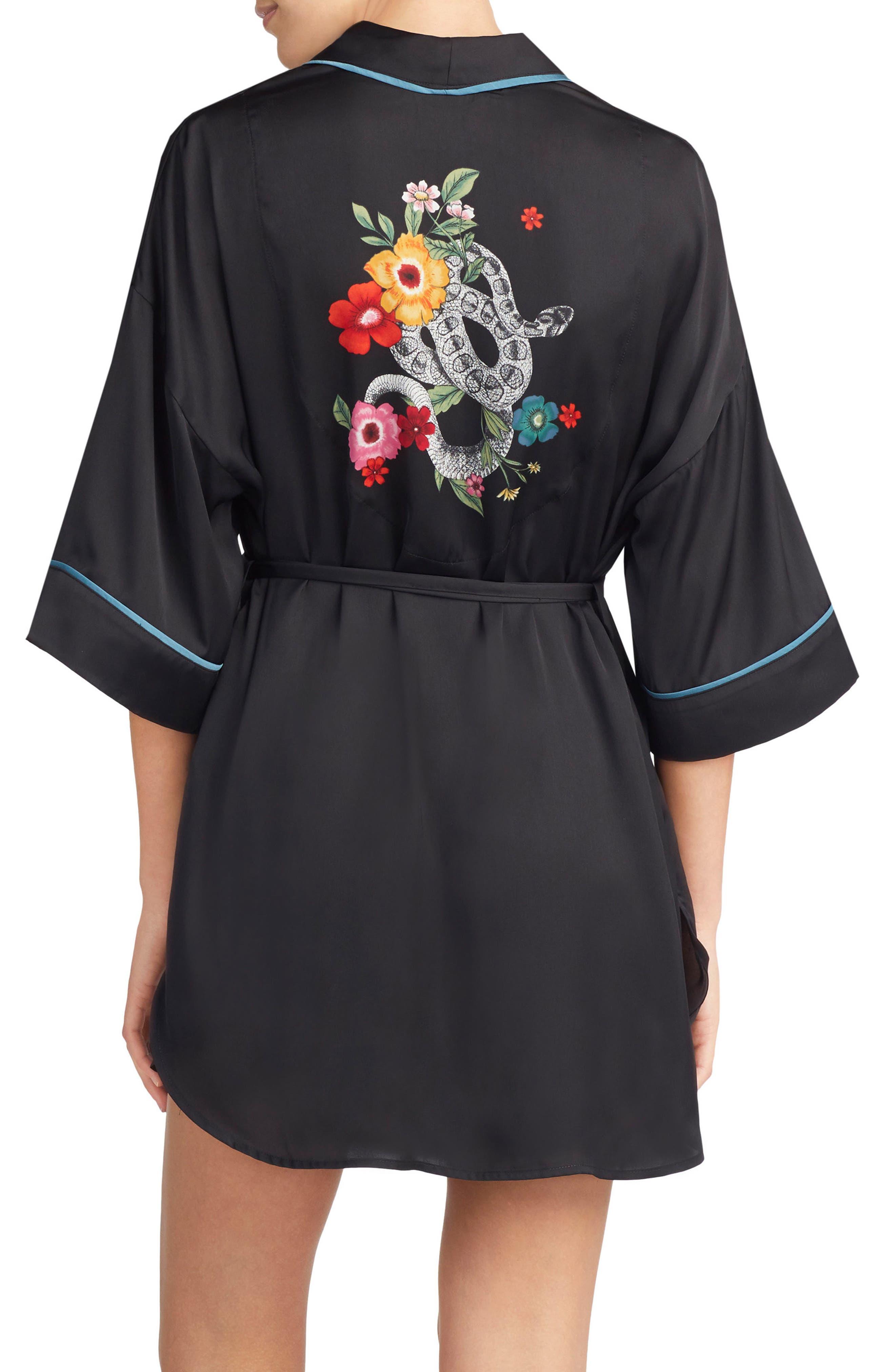 Main Image - Room Service Snake Print Satin Short Robe