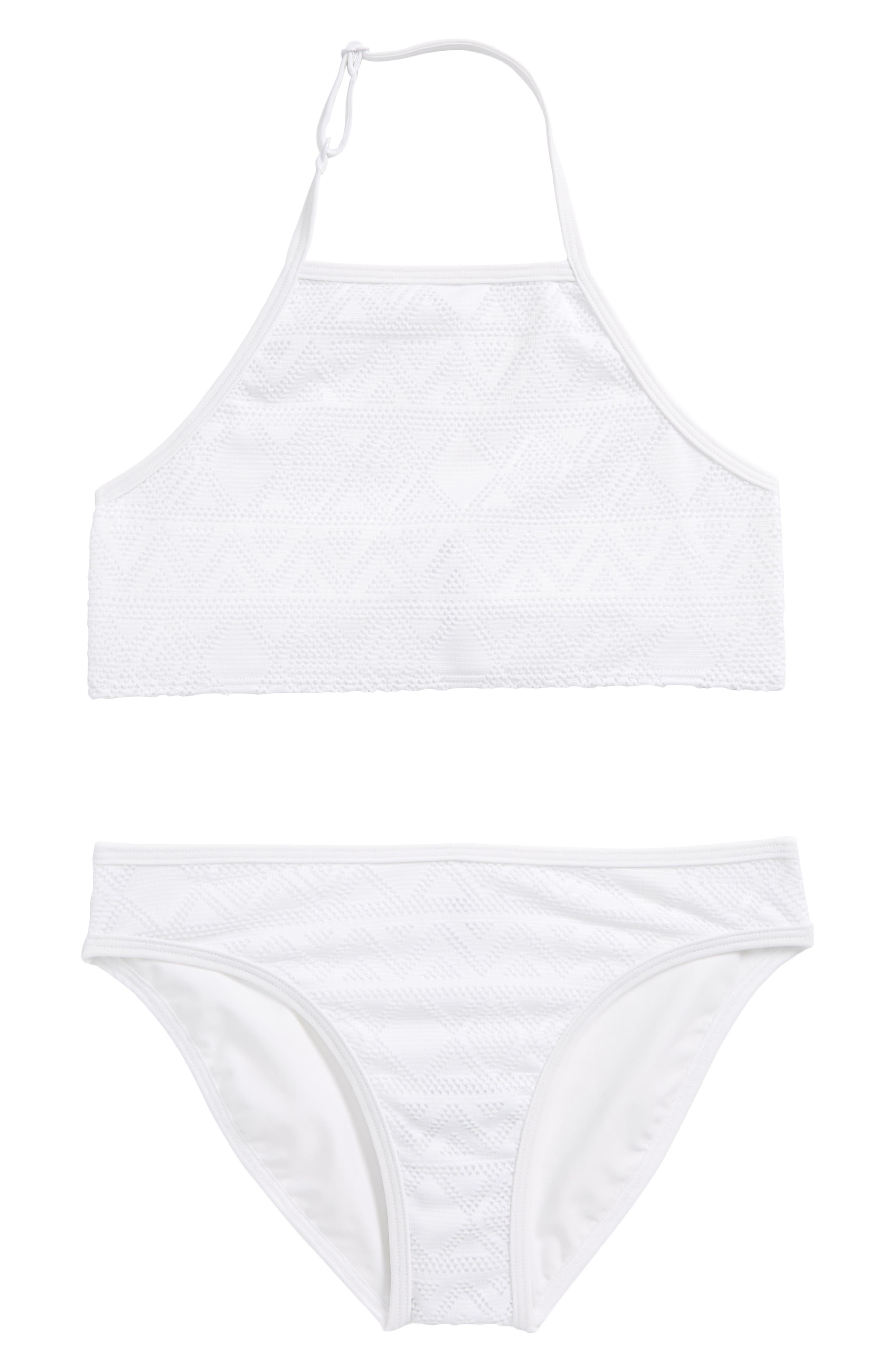 Textured Two-Piece Swimsuit,                         Main,                         color, White