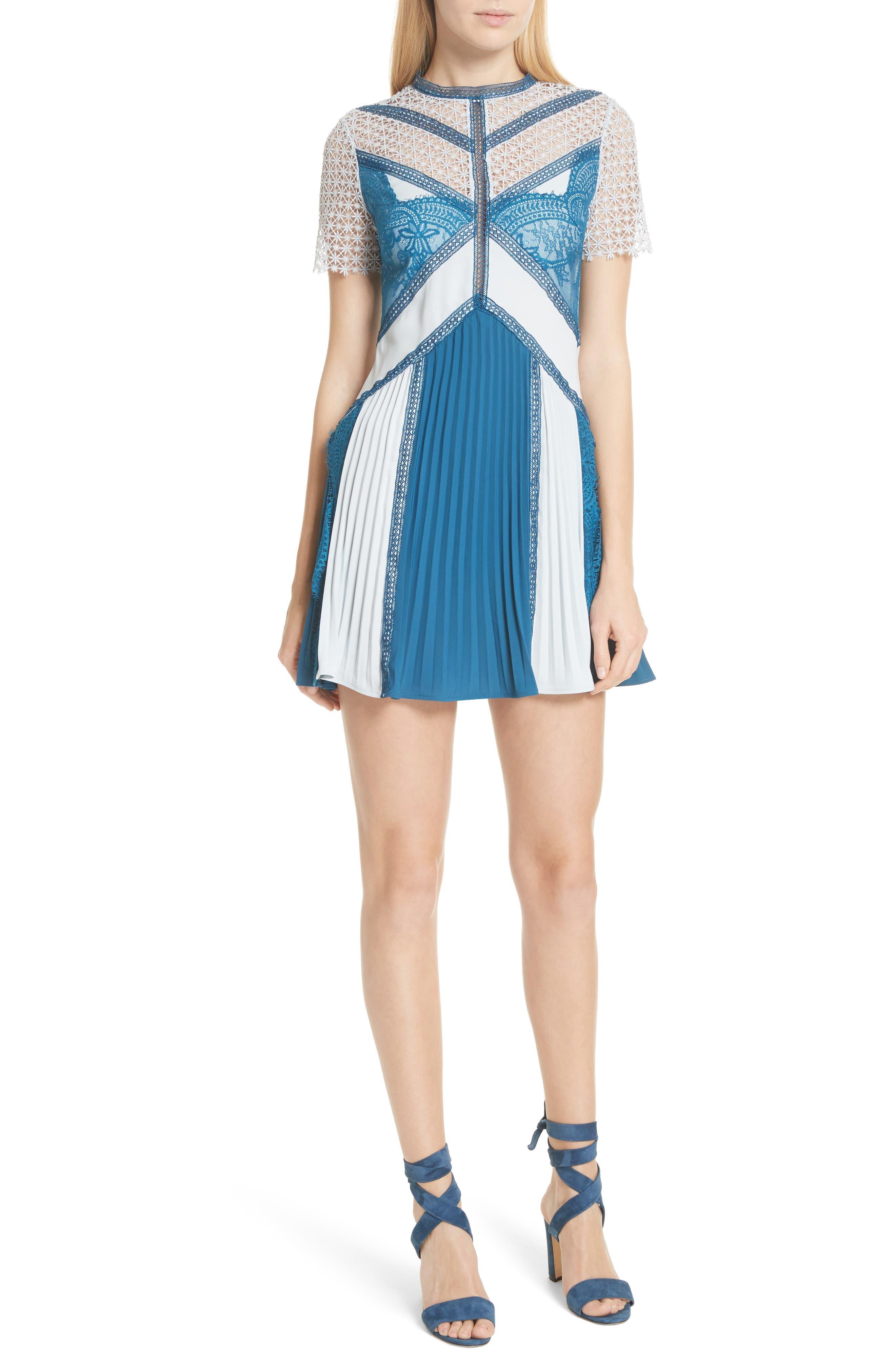 Paneled Lace Minidress,                         Main,                         color, Blue