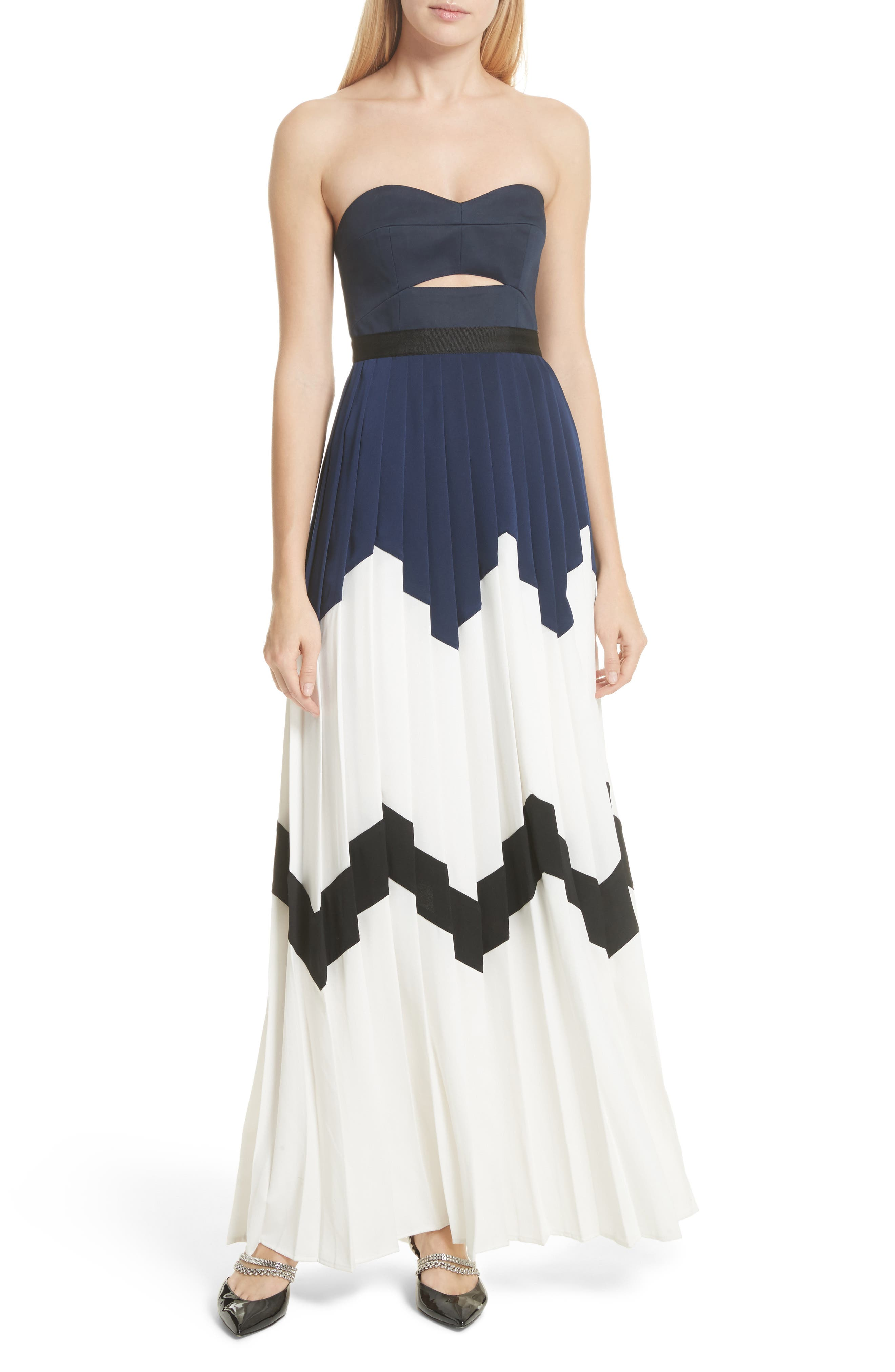 Pleated Bandeau Strapless Maxi Dress,                         Main,                         color, Navy/ White
