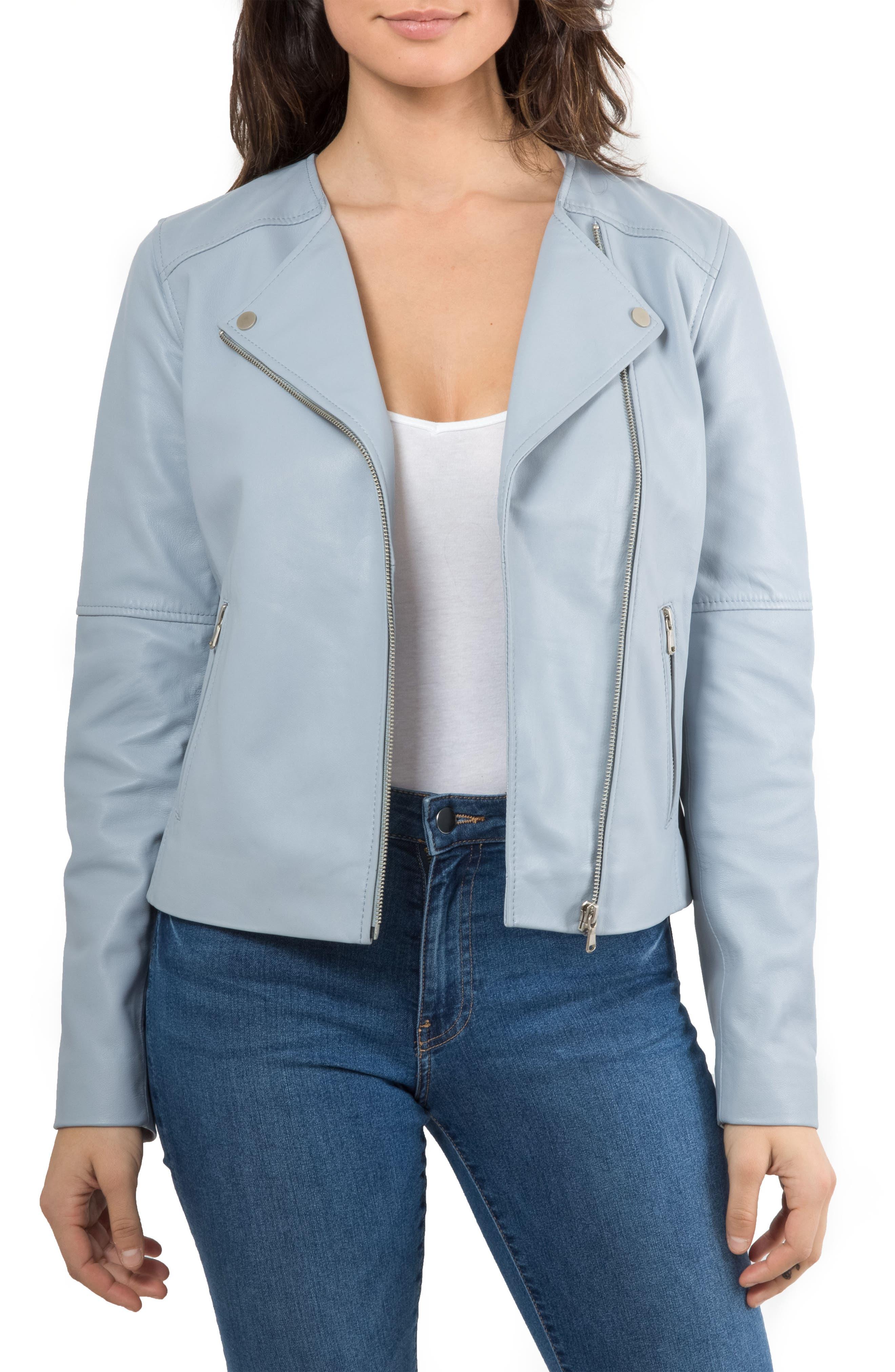 Leather Biker Jacket,                         Main,                         color, Mineral Blue