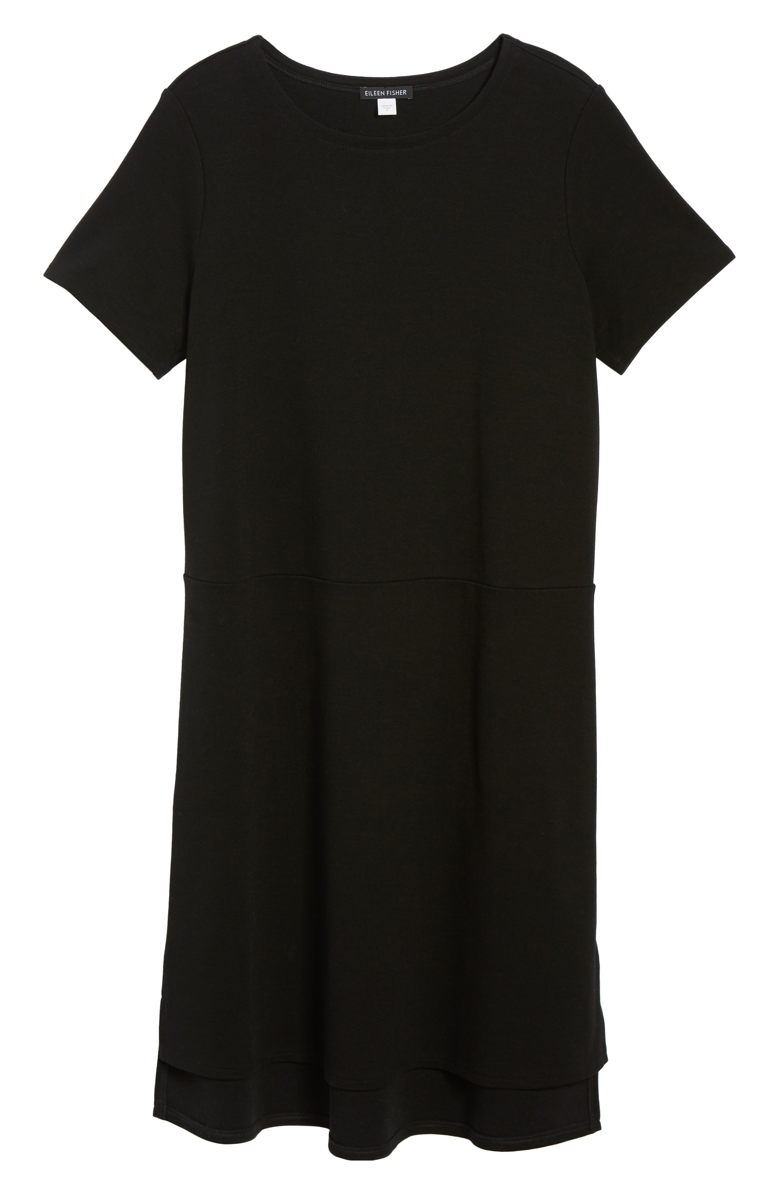 Tencel<sup>®</sup> Lyocell Blend Knit Shift Dress,                             Alternate thumbnail 6, color,                             Black