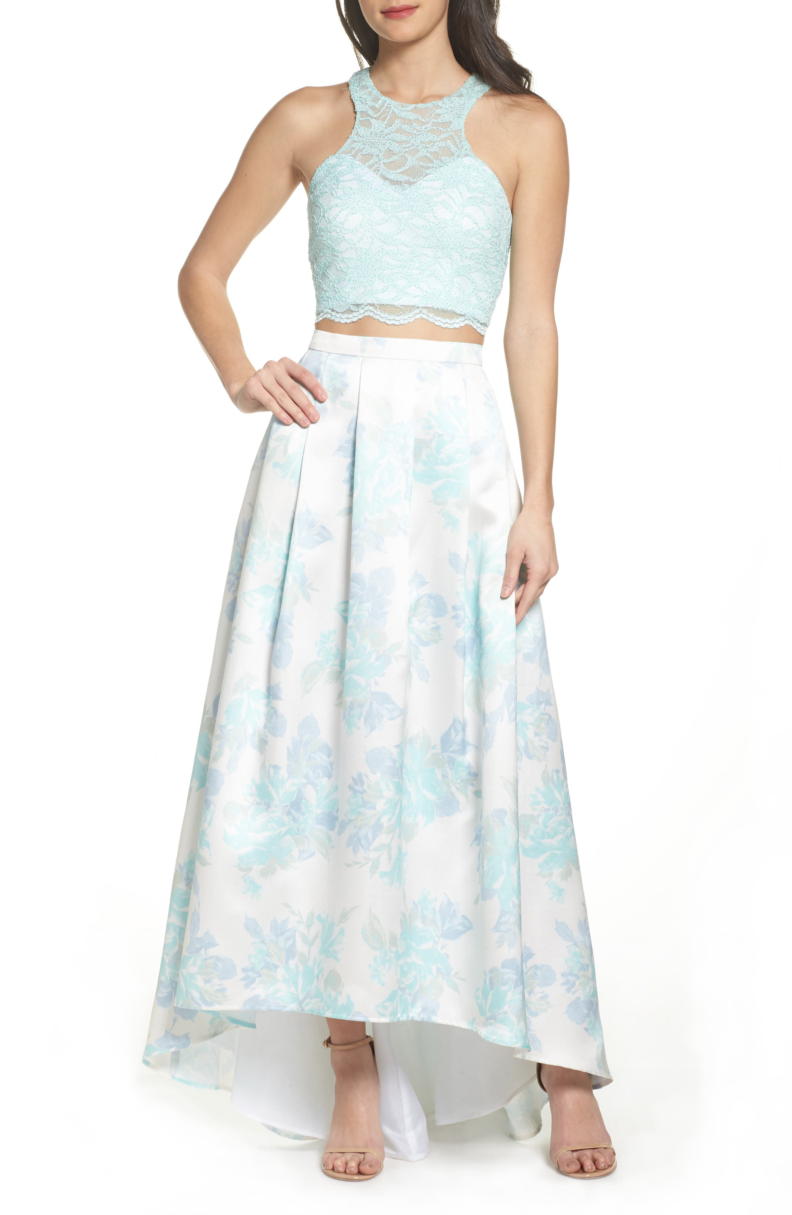 Two-Piece Lace High/Low Dress,                             Main thumbnail 1, color,                             Mint / Ivory