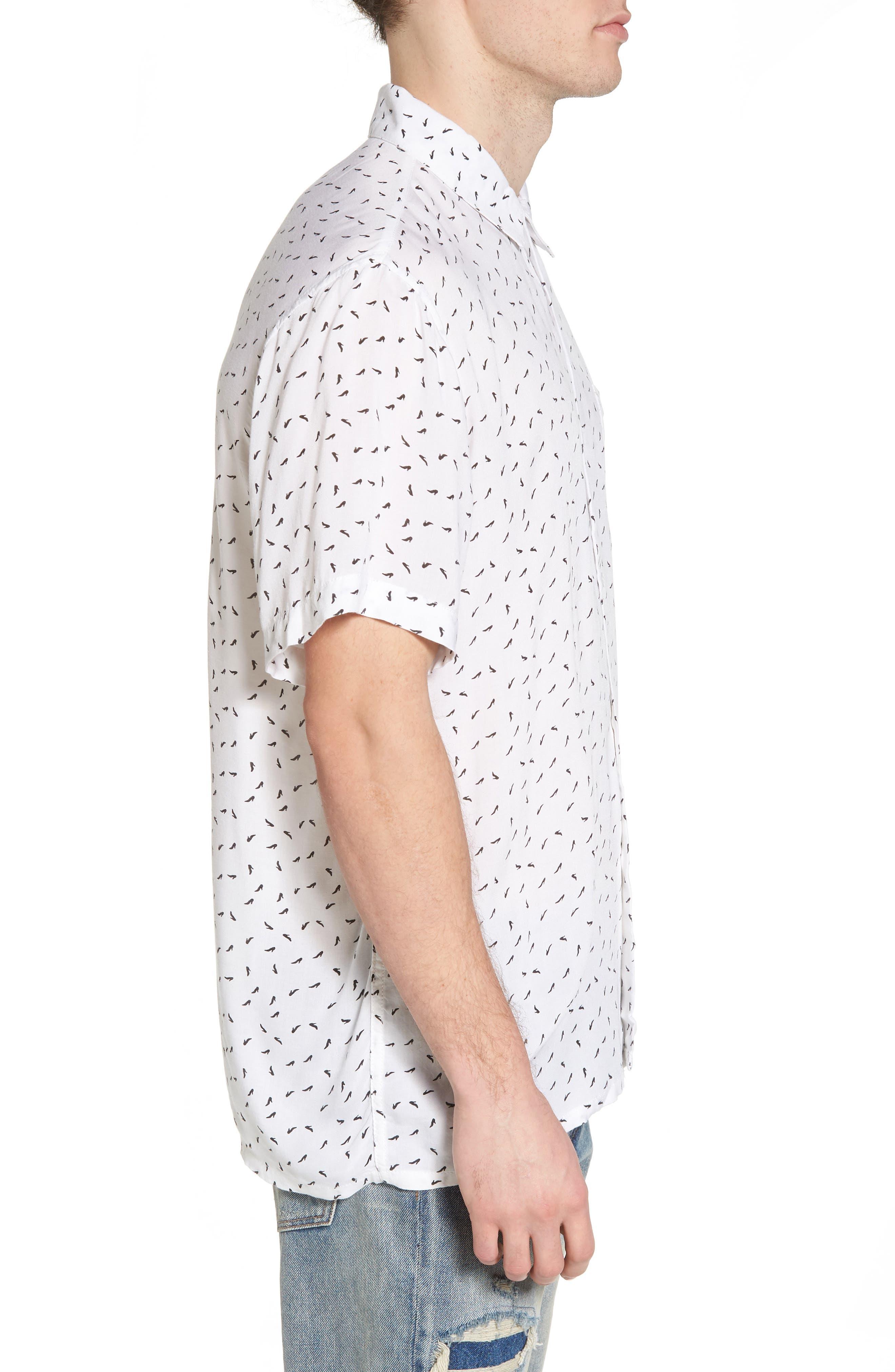 Pumps Short Sleeve Shirt,                             Alternate thumbnail 3, color,                             White Multi