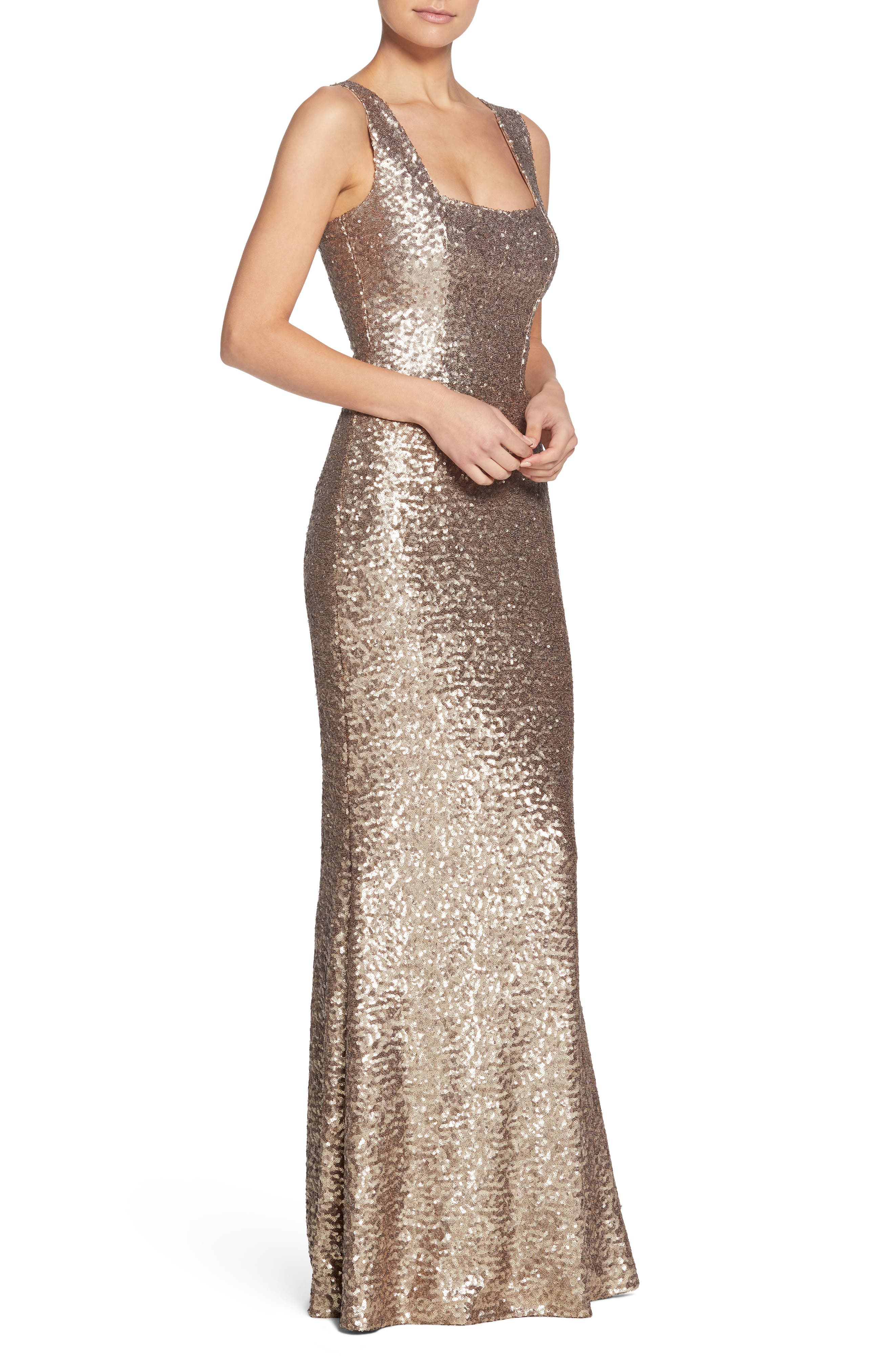 Raven Sequin Gown,                             Alternate thumbnail 3, color,                             Brass