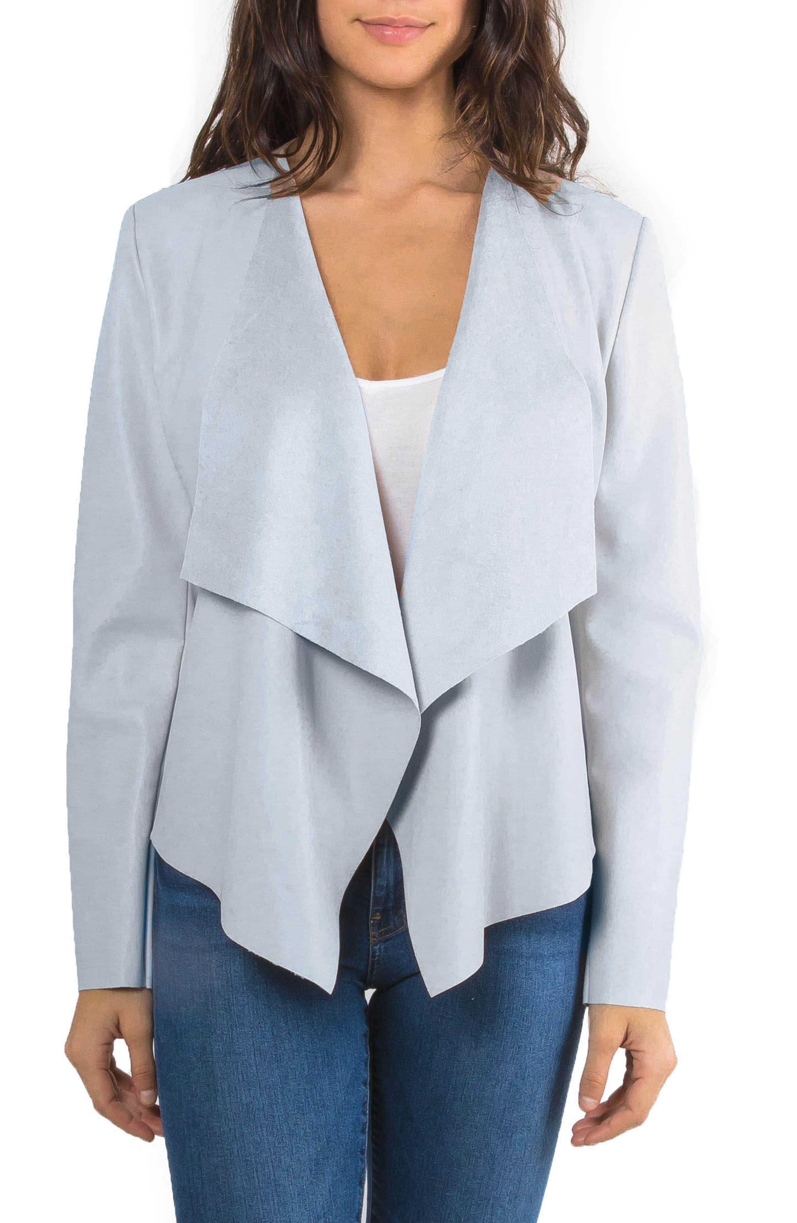Drape Faux Leather Jacket,                         Main,                         color, Mineral Blue