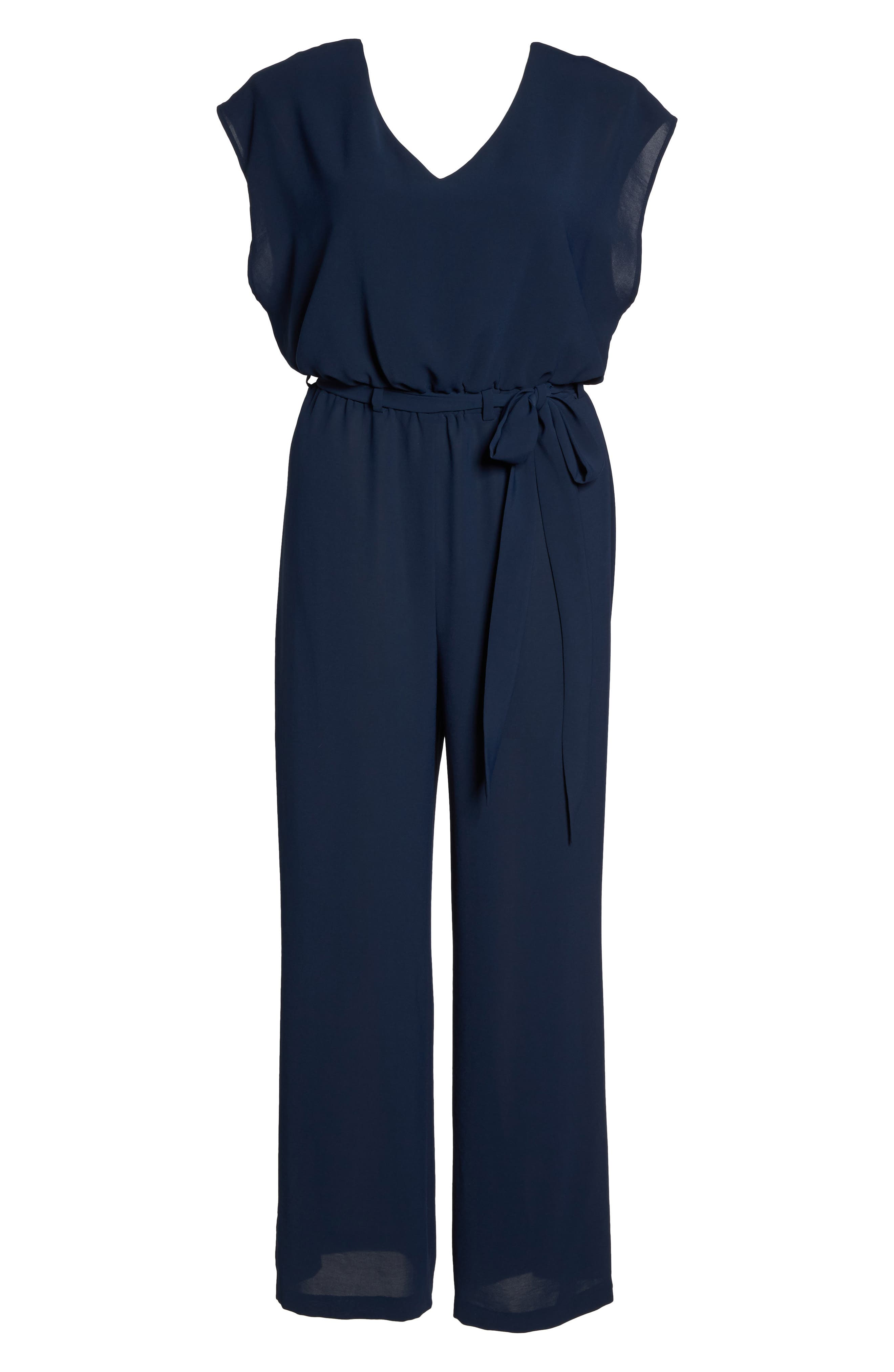 Crepe Belted Jumpsuit,                             Alternate thumbnail 6, color,                             Blue Moon