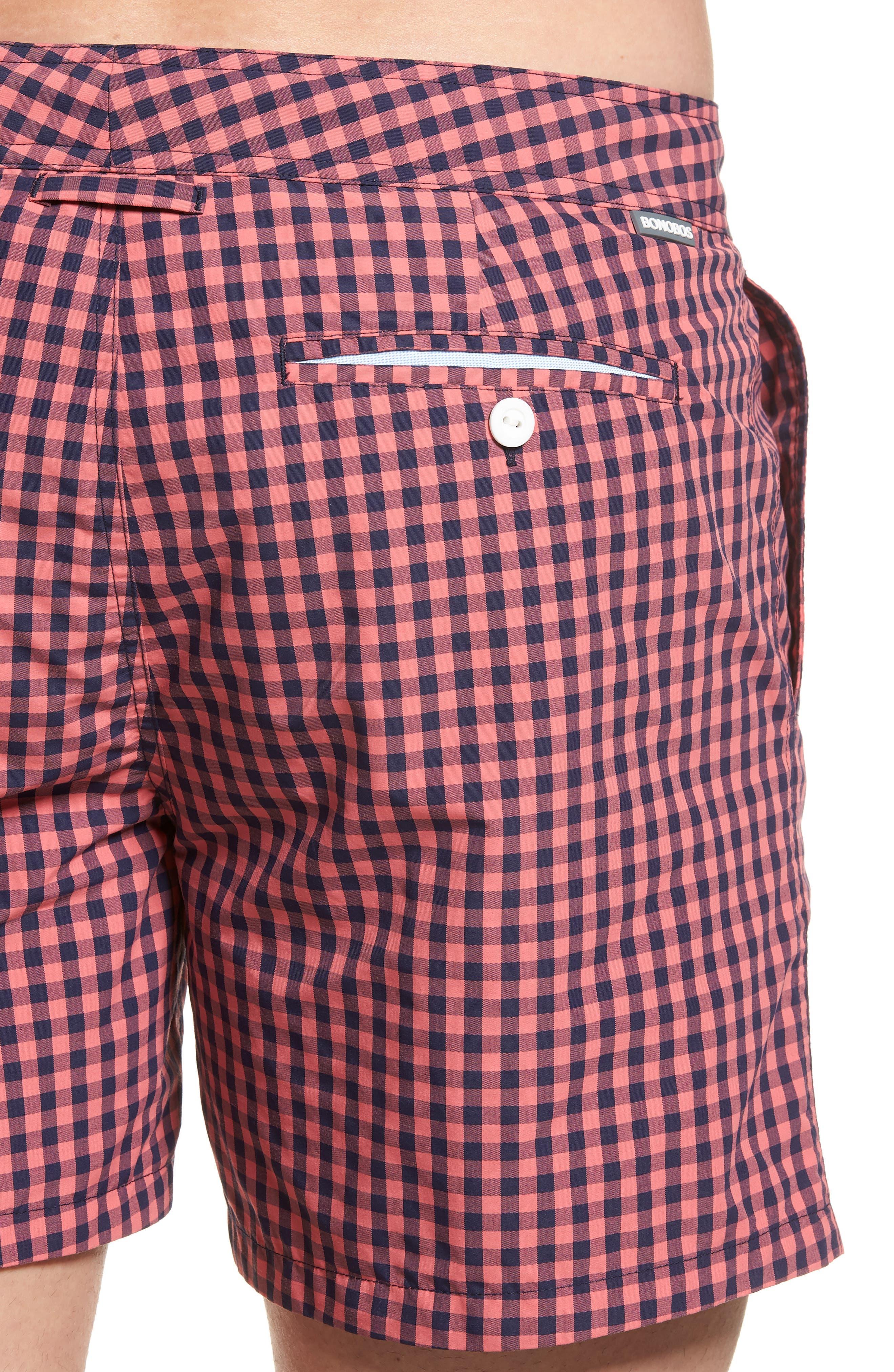 Gingham 5-Inch Swim Trunks,                             Alternate thumbnail 4, color,                             Gulfstream Gingham Blue/ Pink