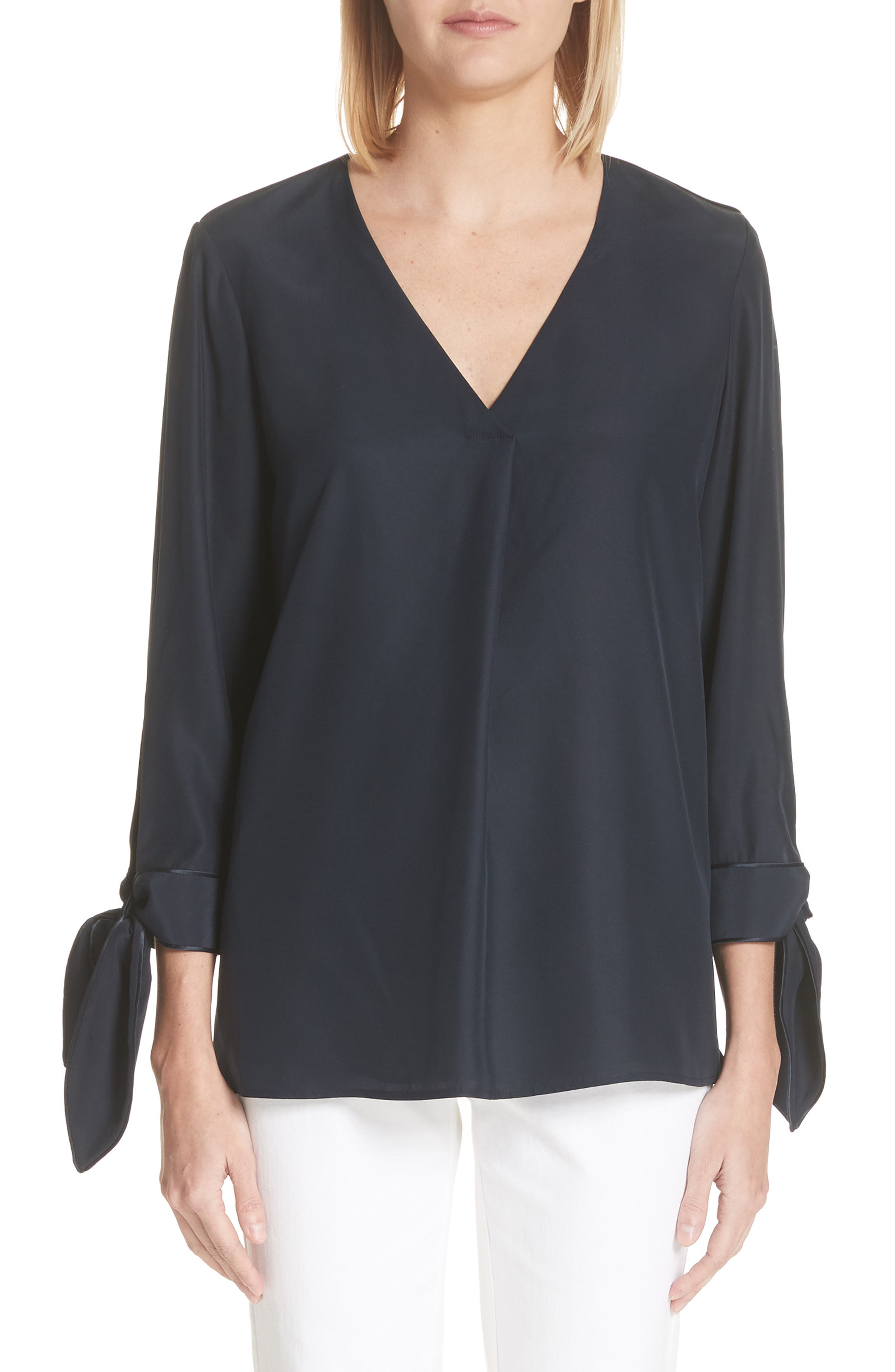 Lafayette 148 New York Blair Matte Silk Blouse