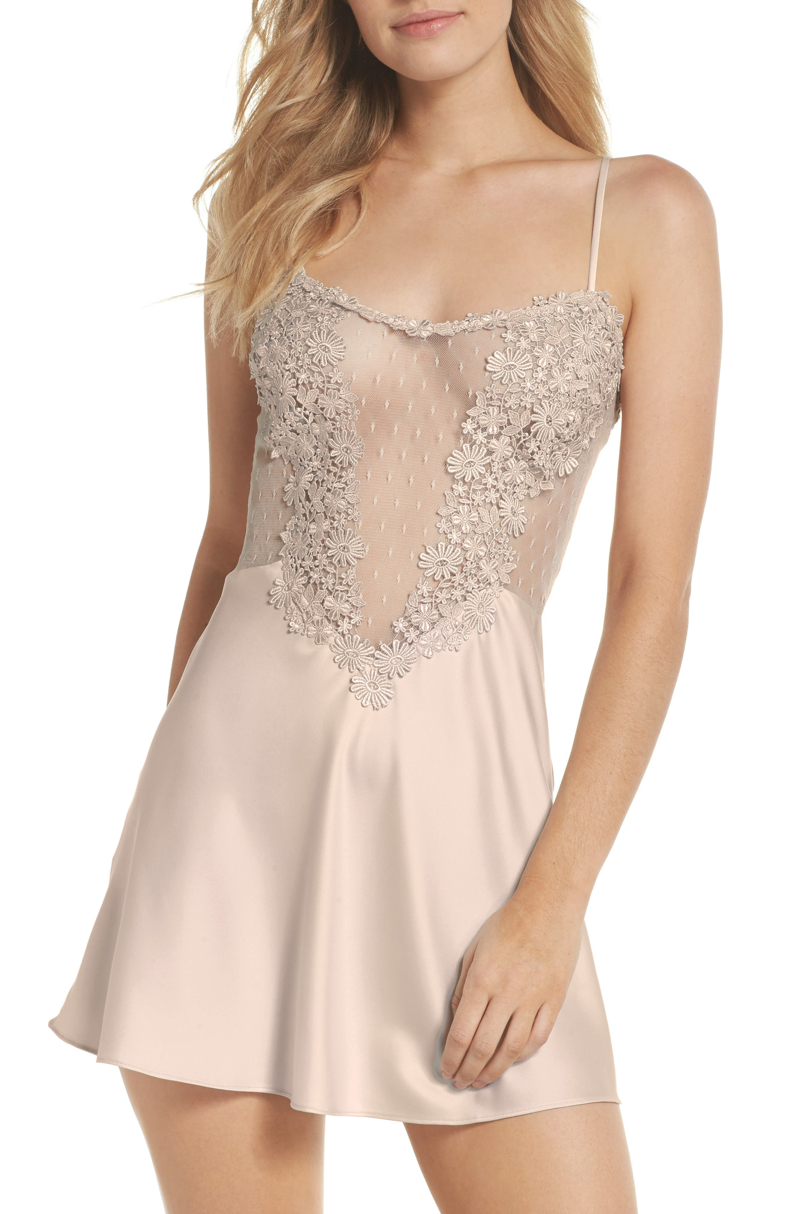 FLORA NIKROOZ Showstopper Chemise in Champagne