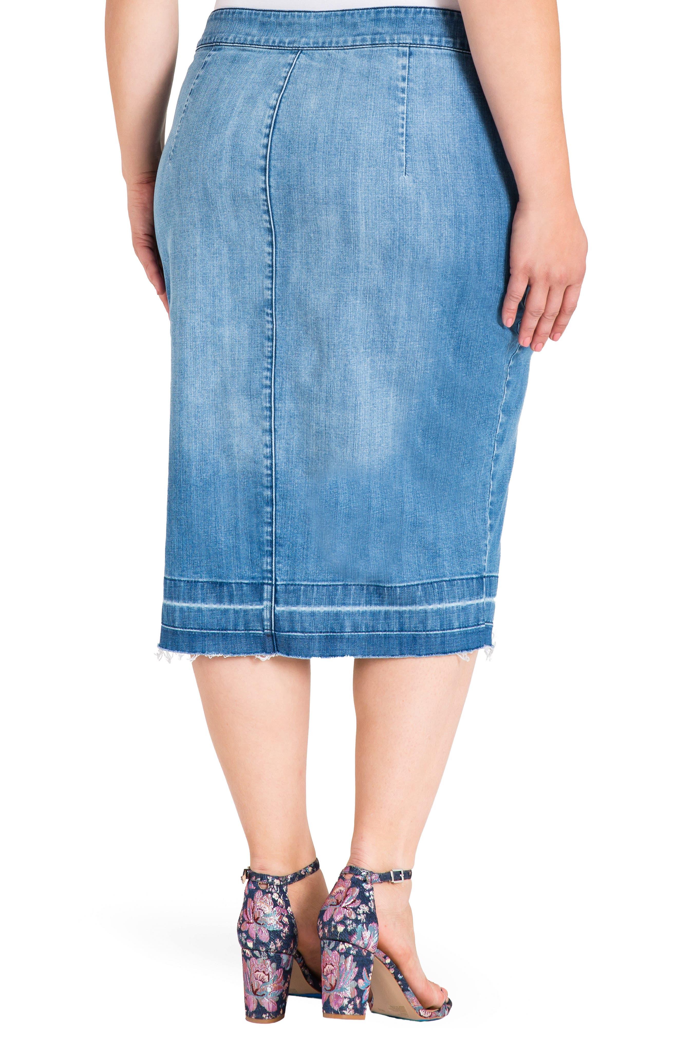 Harley Denim Midi Skirt,                             Alternate thumbnail 2, color,                             Light Blue