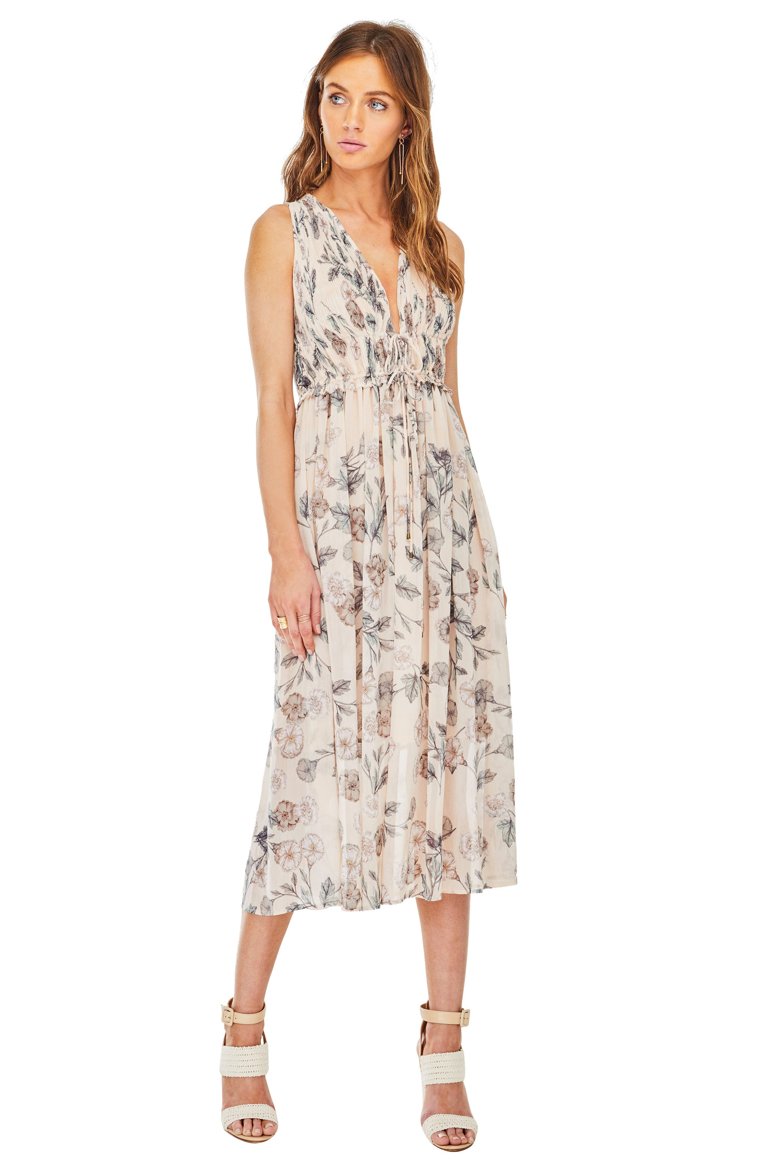 Miranda Midi Dress,                             Alternate thumbnail 3, color,                             Dusty Blush Floral