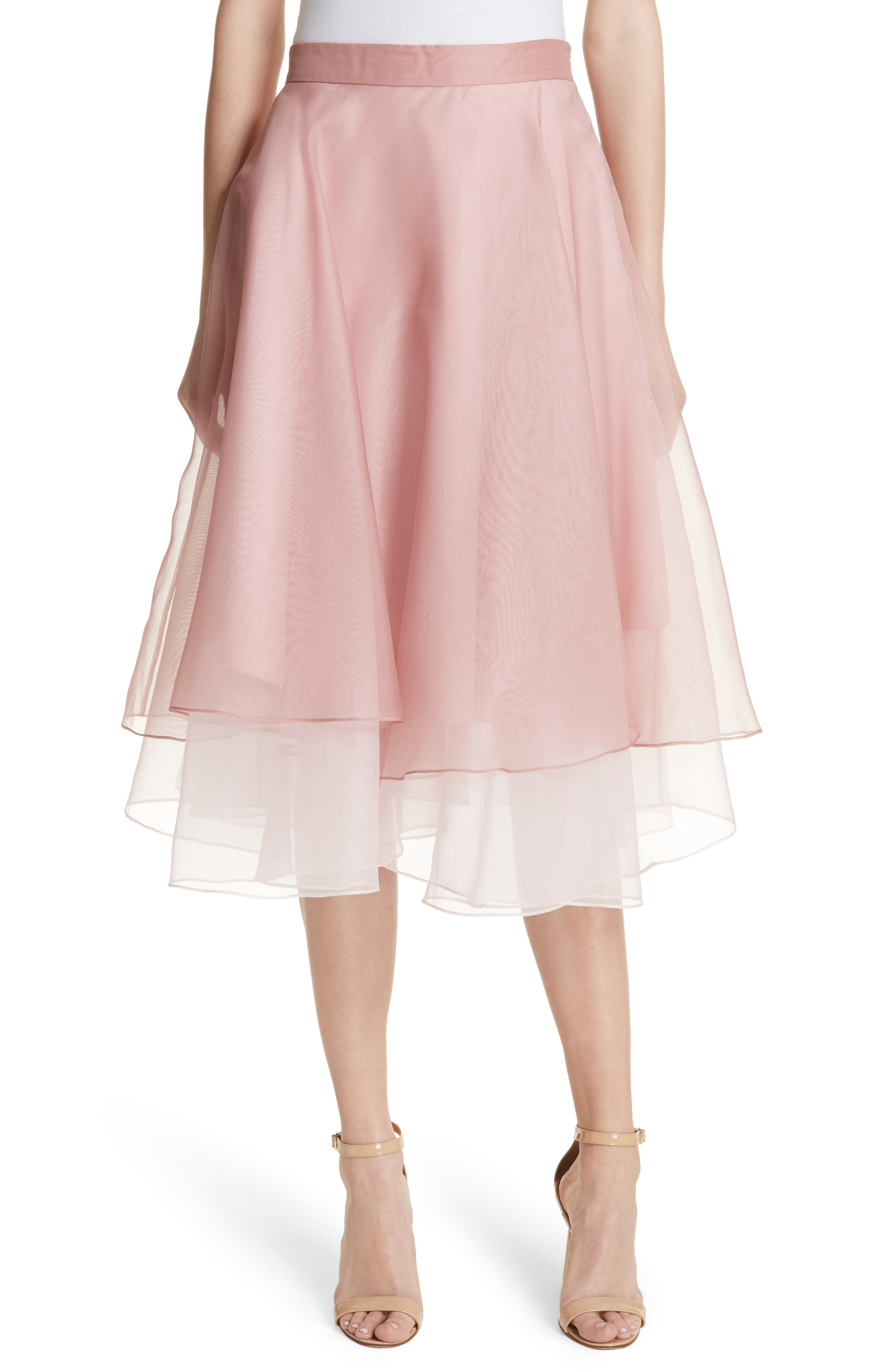 Layered Organza A-Line Skirt,                         Main,                         color, Nude/ Petal