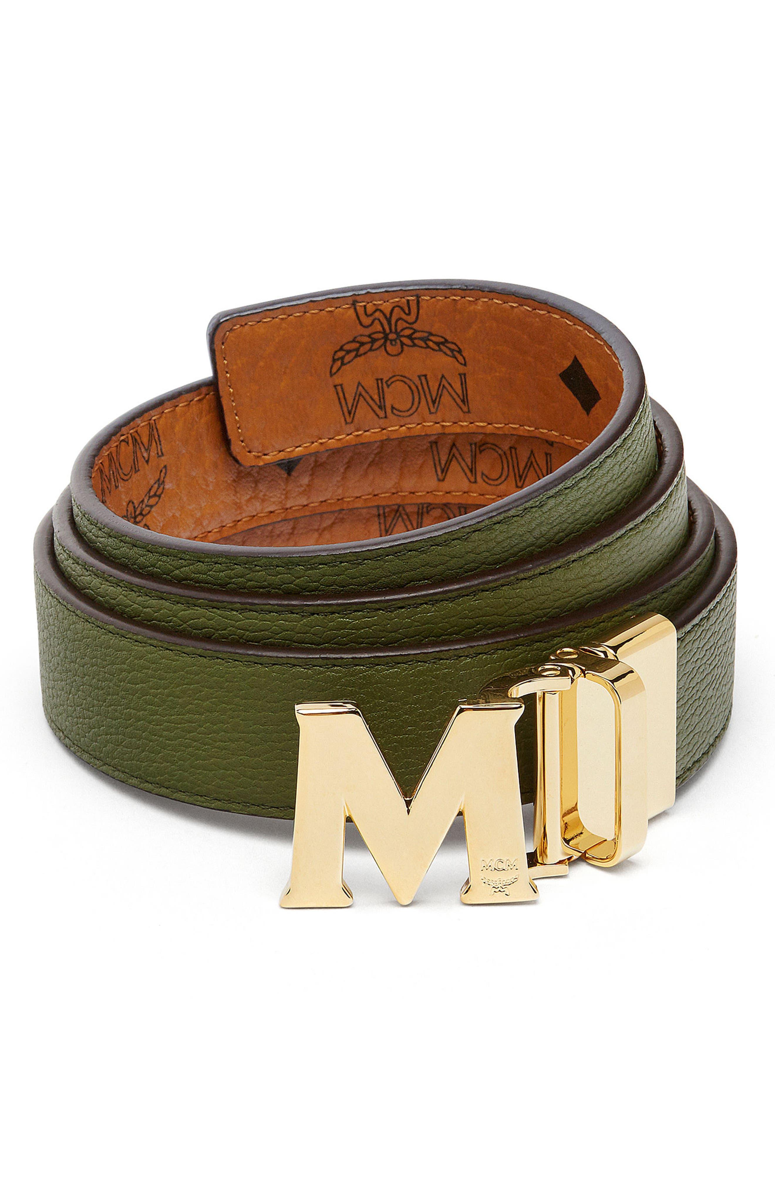 Visetos Reversible Leather Belt,                             Alternate thumbnail 2, color,                             Cognac/ Loden Green