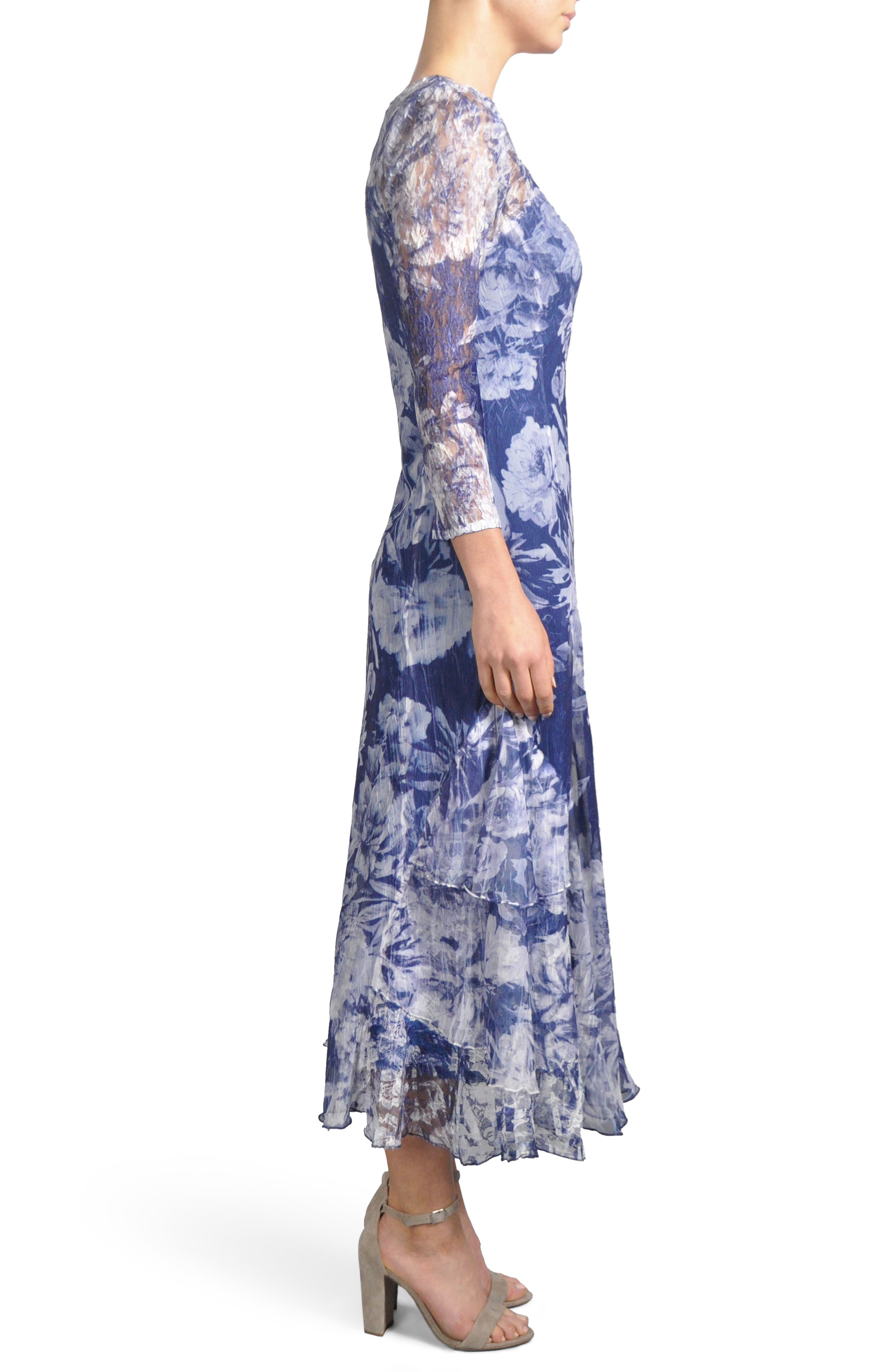 Floral Charmeuse & Chiffon A-Line Dress,                             Alternate thumbnail 3, color,                             Indigo Fields