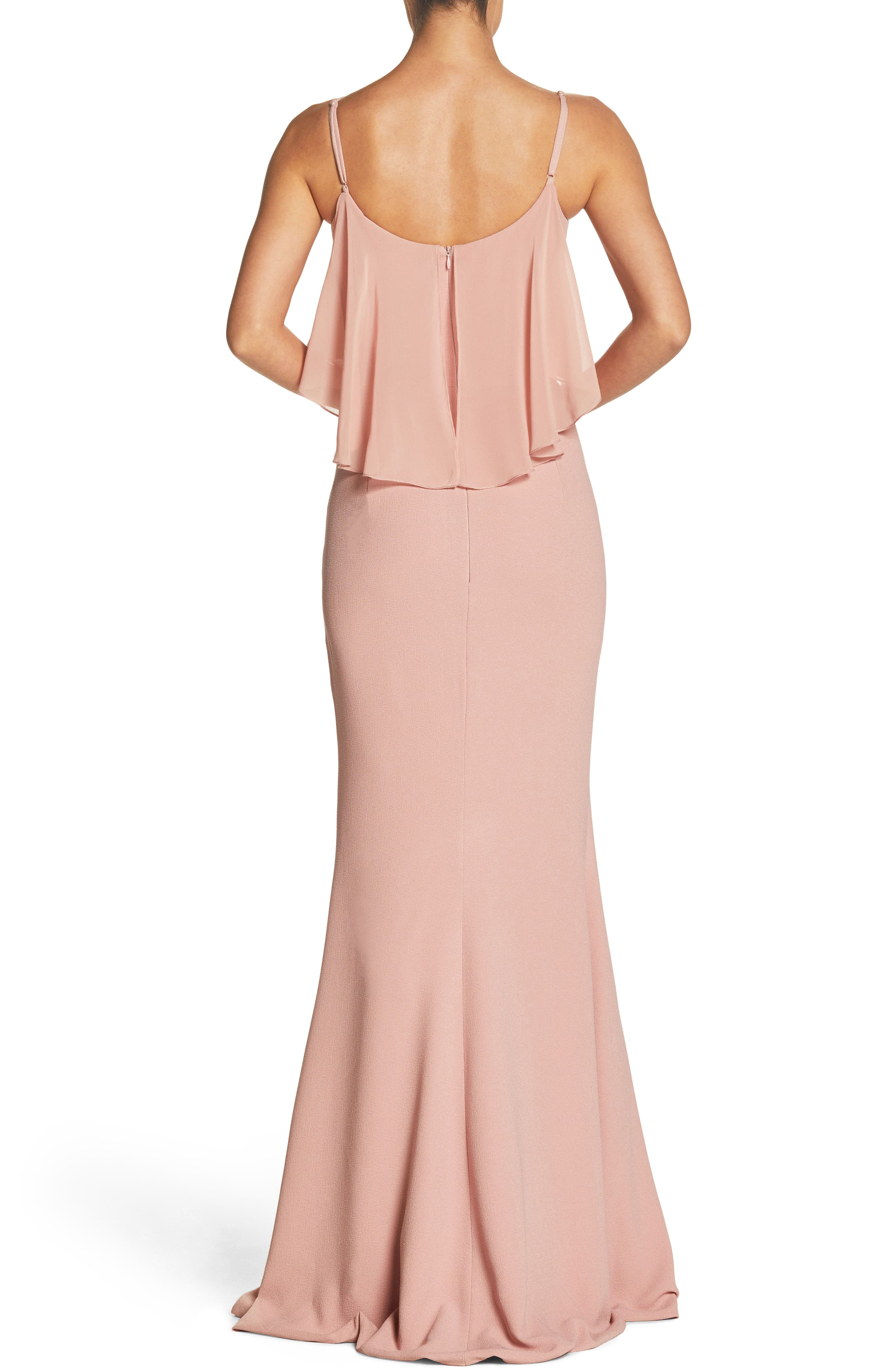 Diana Cold Shoulder Side Slit Gown,                             Alternate thumbnail 2, color,                             Blush