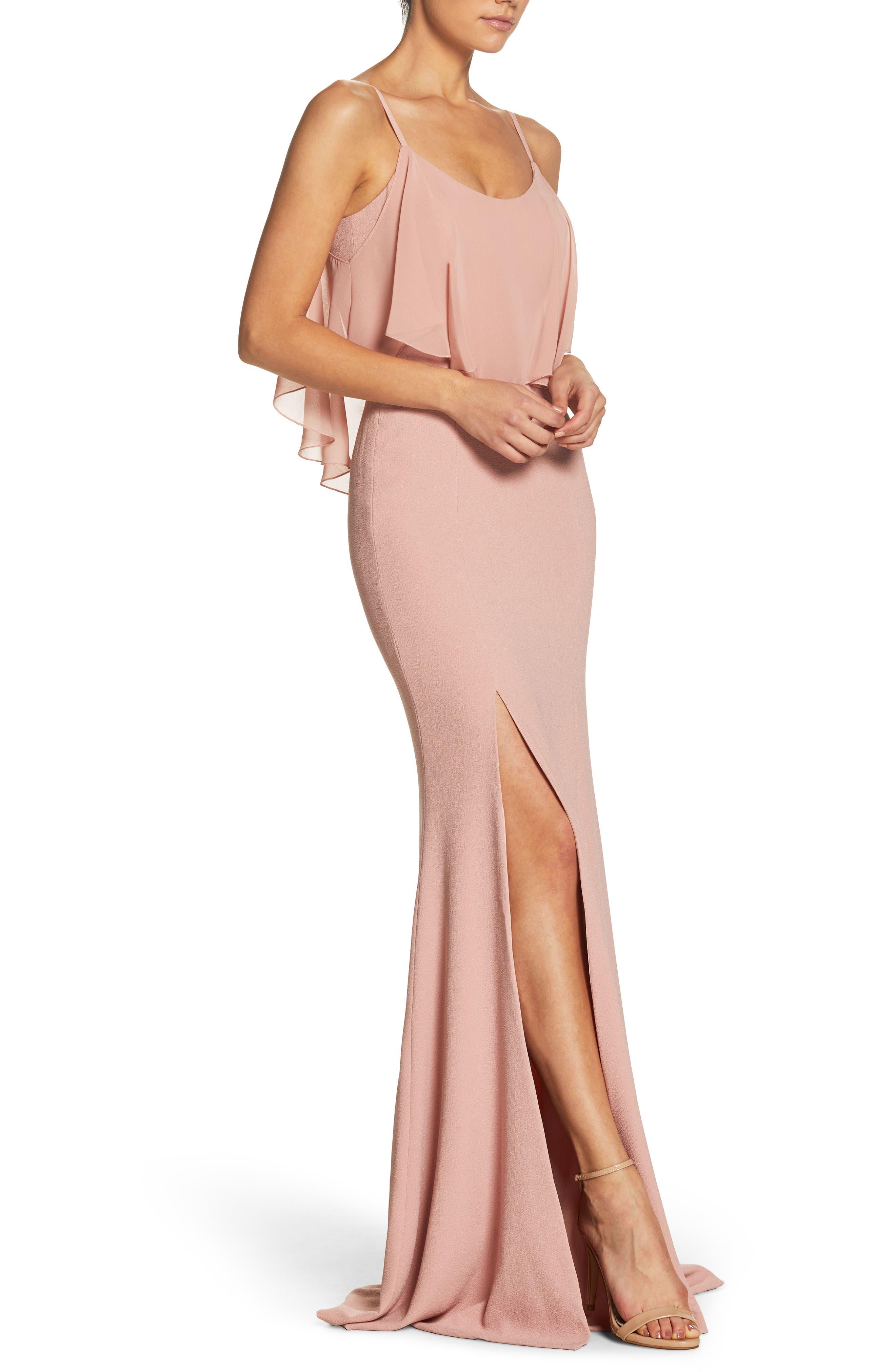 Diana Cold Shoulder Side Slit Gown,                             Alternate thumbnail 3, color,                             Blush
