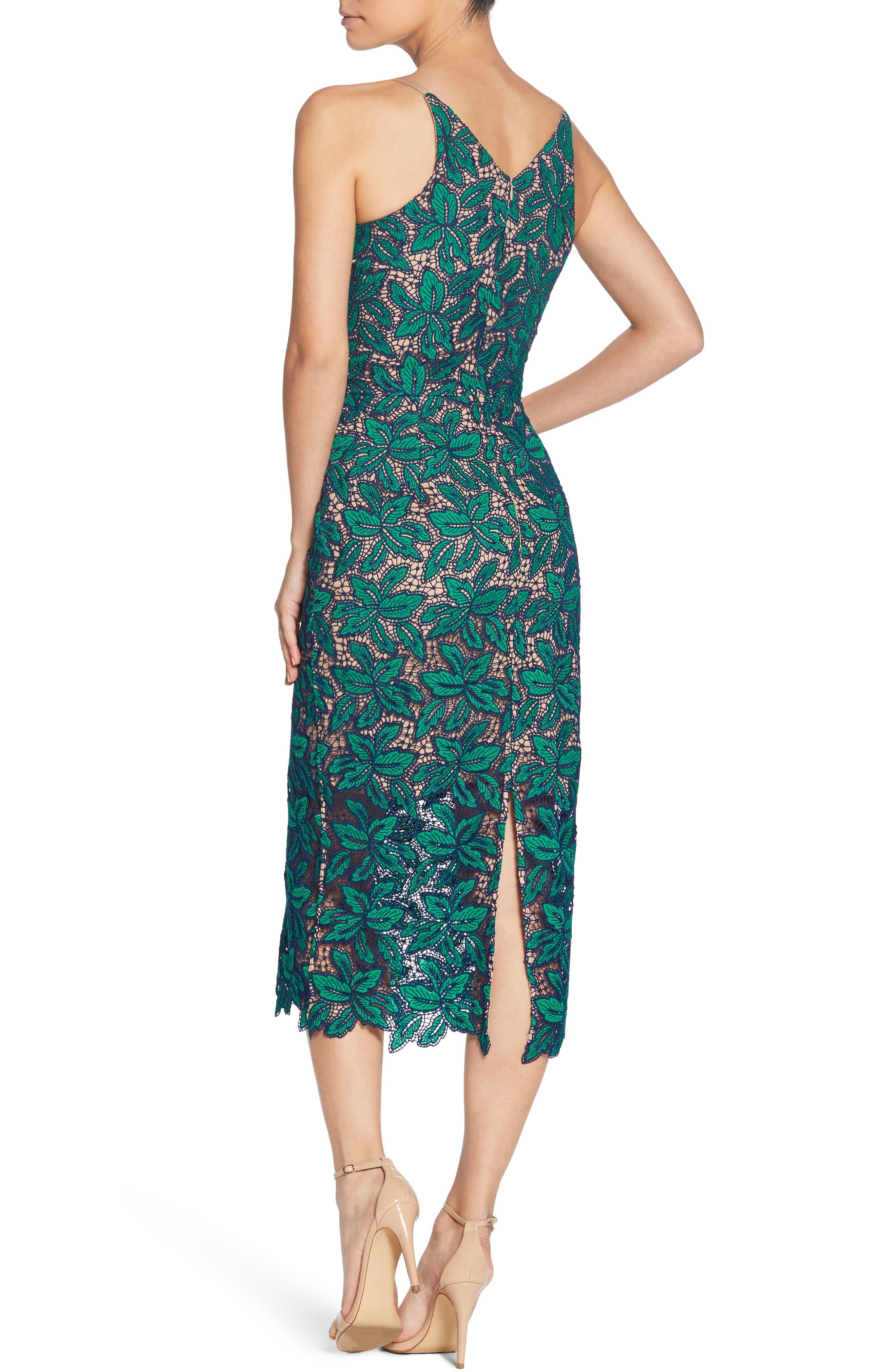 Aurora Lace Sheath Dress,                             Alternate thumbnail 3, color,                             Kelli/ Navy