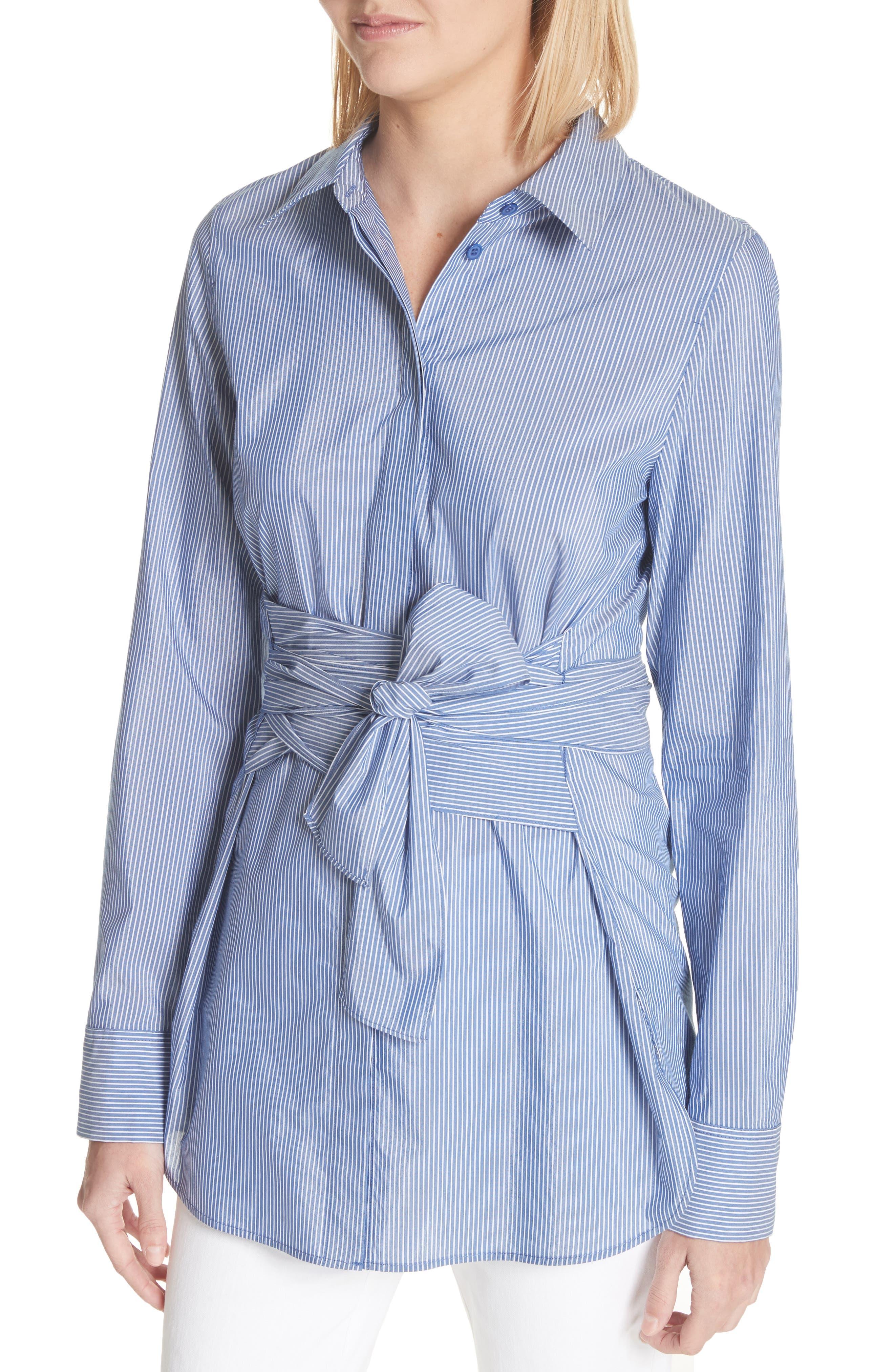 Cordelia Tie Waist Blouse,                             Alternate thumbnail 4, color,                             Delft Multi