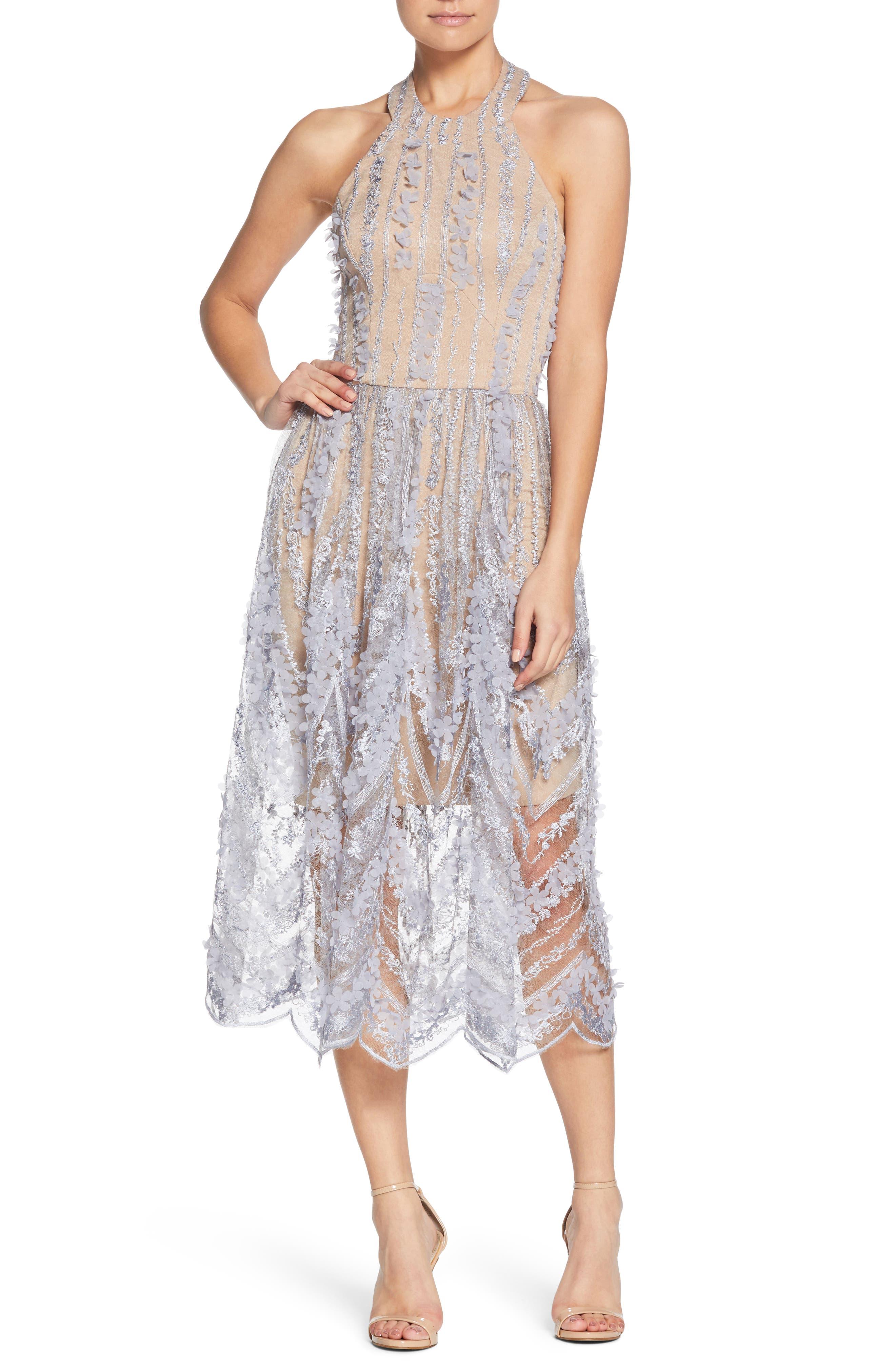 Valerie Halter Dress, Mineral Blue/ Nude