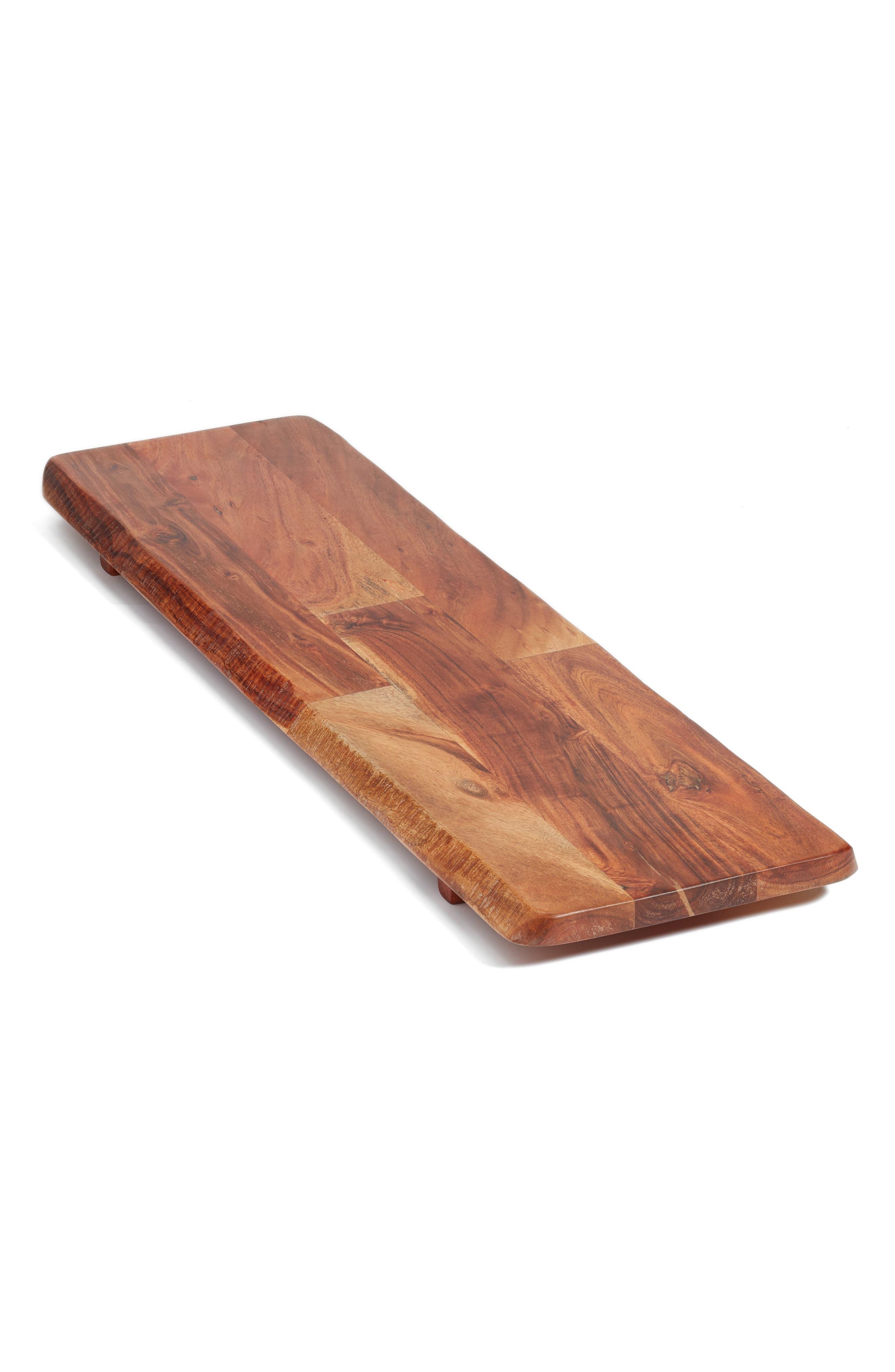 Large Acacia Wood Tray,                             Alternate thumbnail 3, color,                             Brown