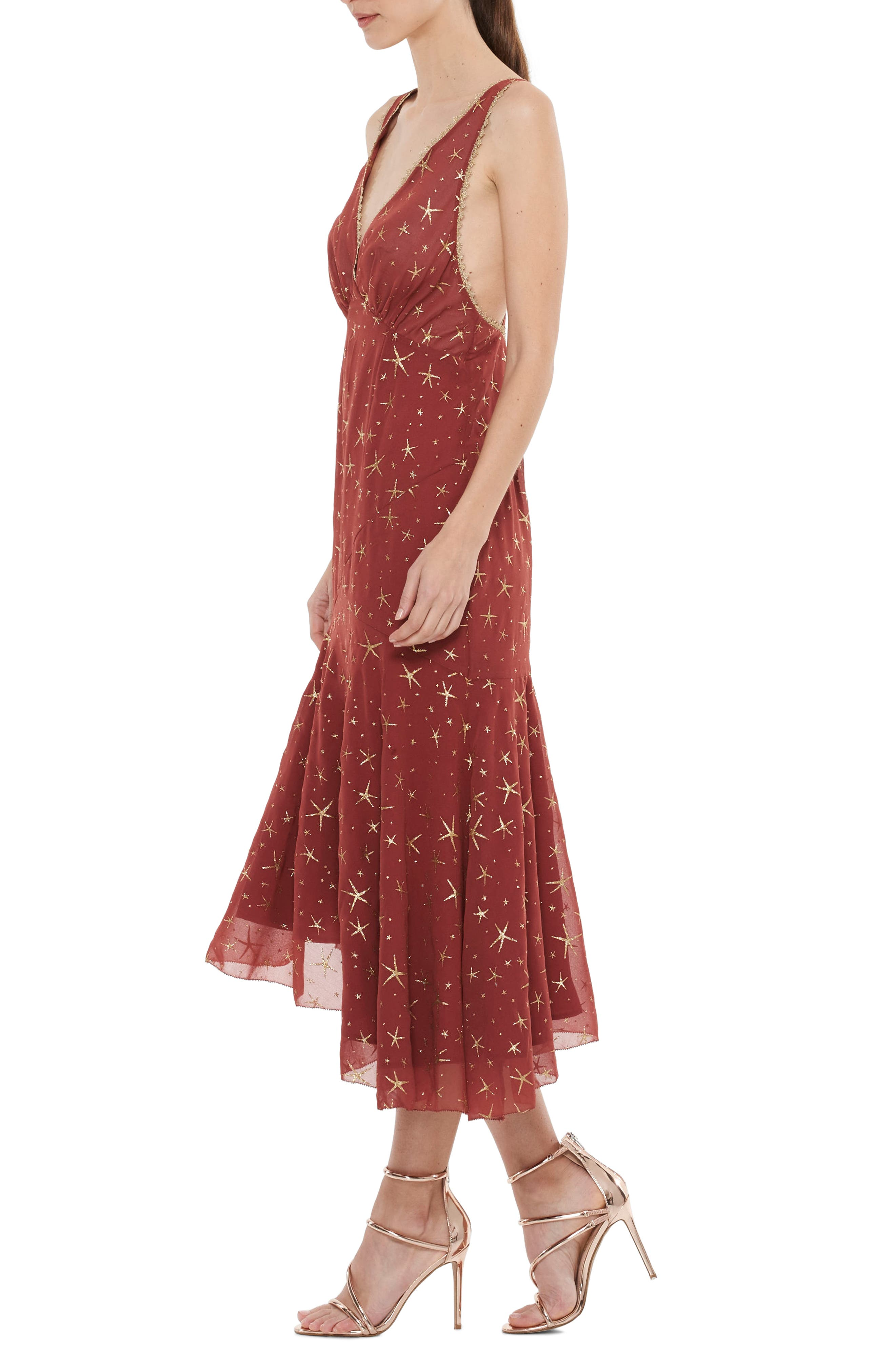 Stay Together Asymmetric Midi Dress,                             Alternate thumbnail 3, color,                             Wine And Gold