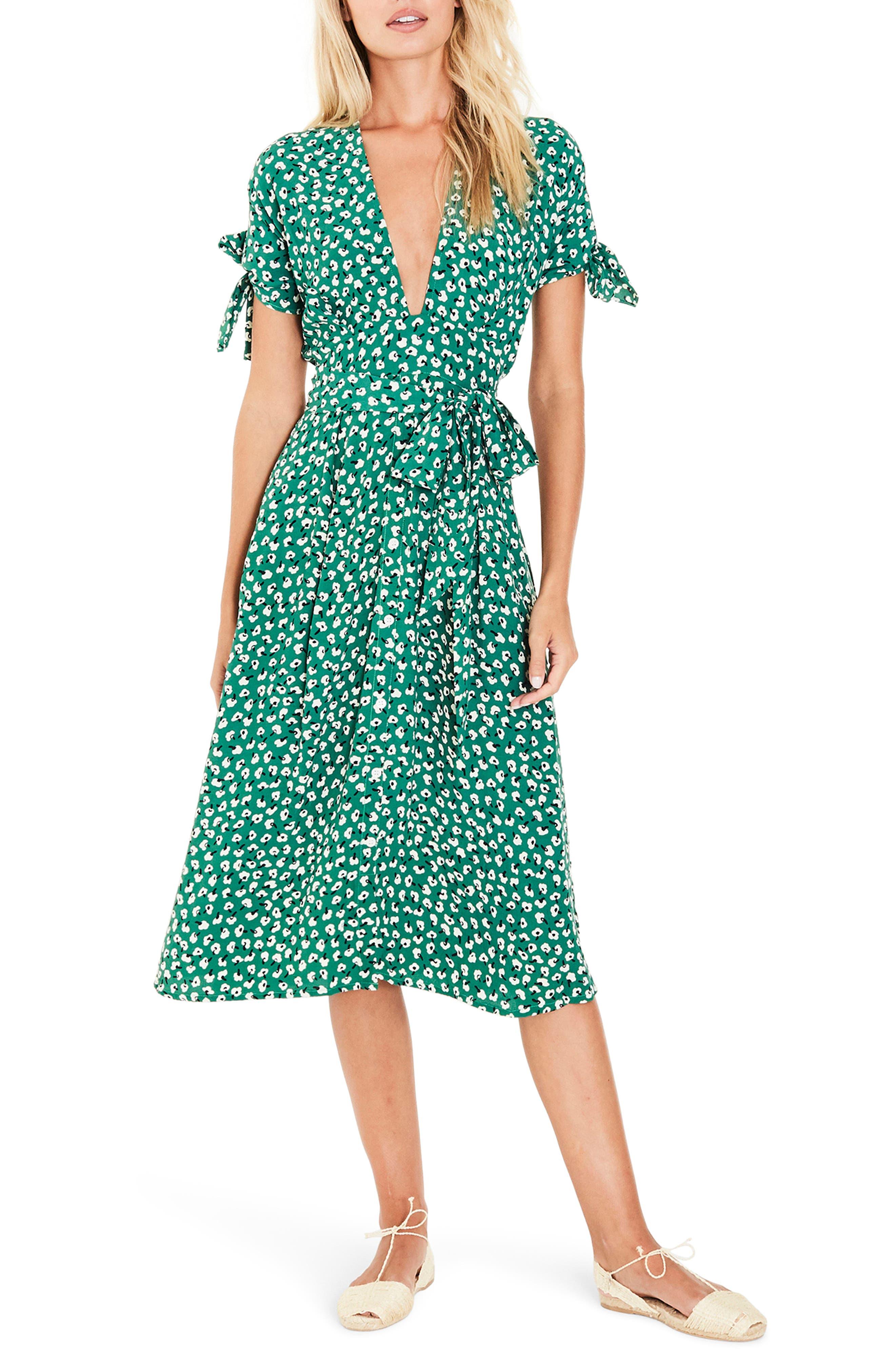 Nina Tie Detail Midi Dress,                             Main thumbnail 1, color,                             Vintage Bloom Print - Green