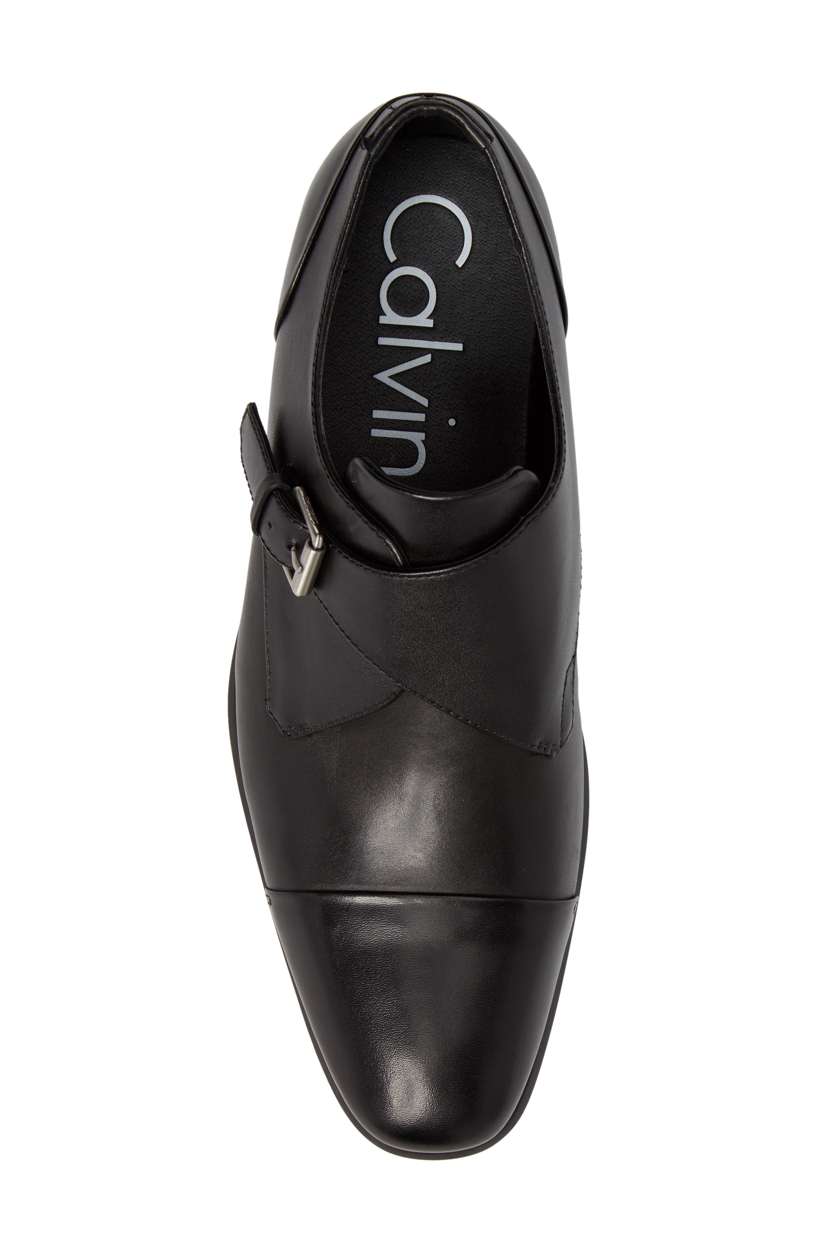 Lucus Monk Strap Shoe,                             Alternate thumbnail 5, color,                             Black Leather