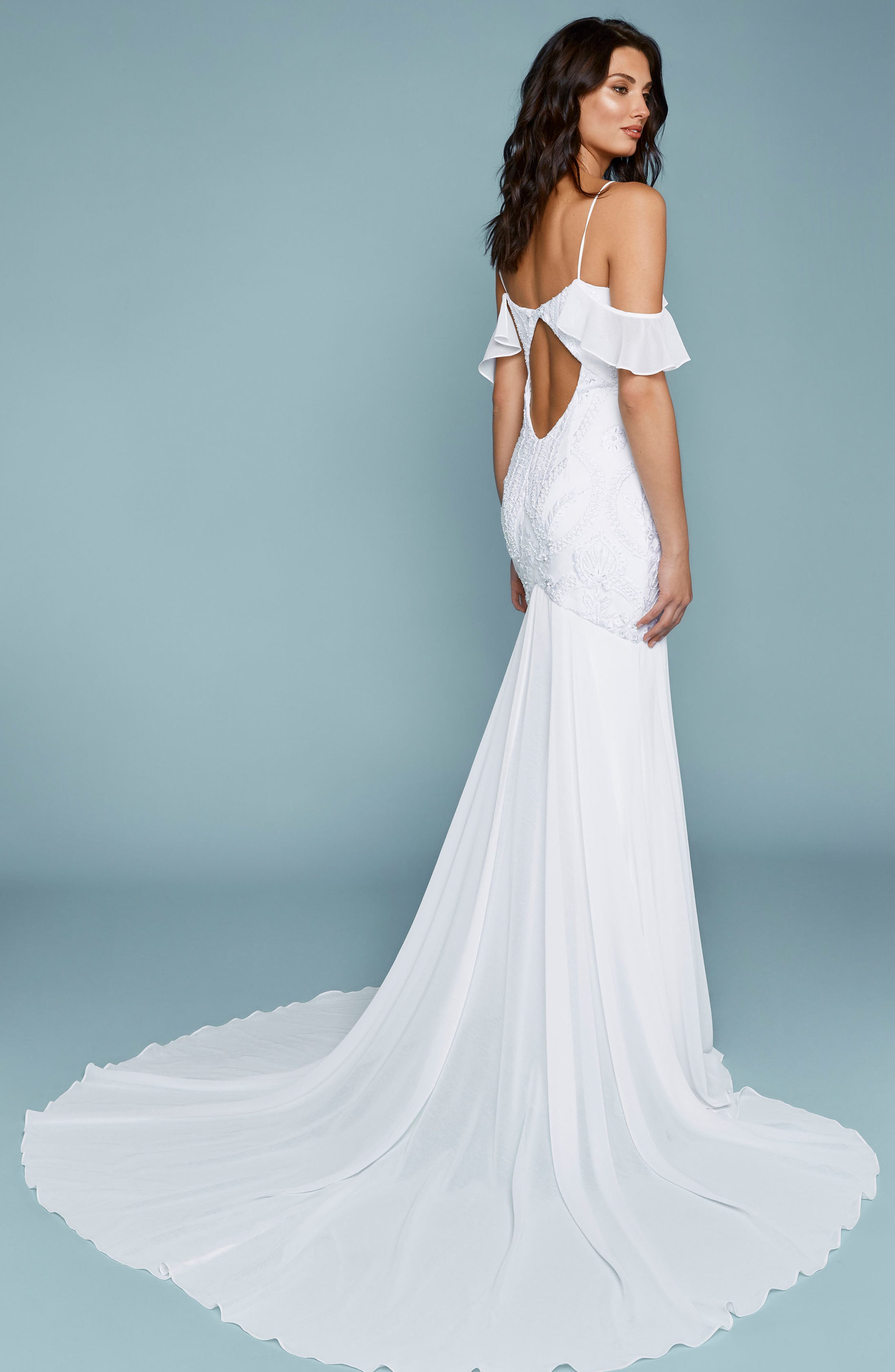 Embroidered Chiffon Off the Shoulder Mermaid Gown,                             Alternate thumbnail 2, color,                             Ivory/ Ivory
