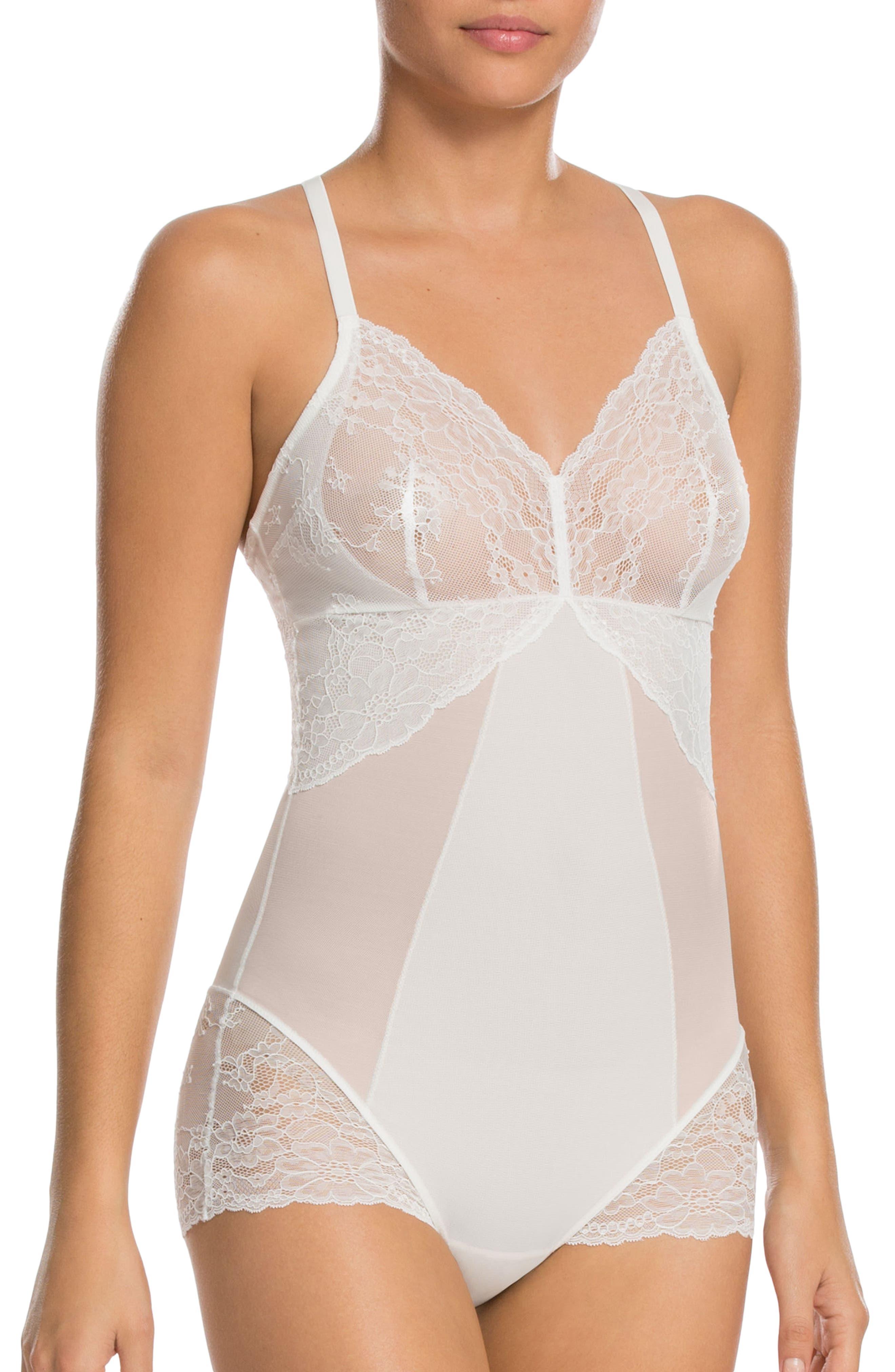 Spotlight On Lace Bodysuit,                             Main thumbnail 1, color,                             Clean White
