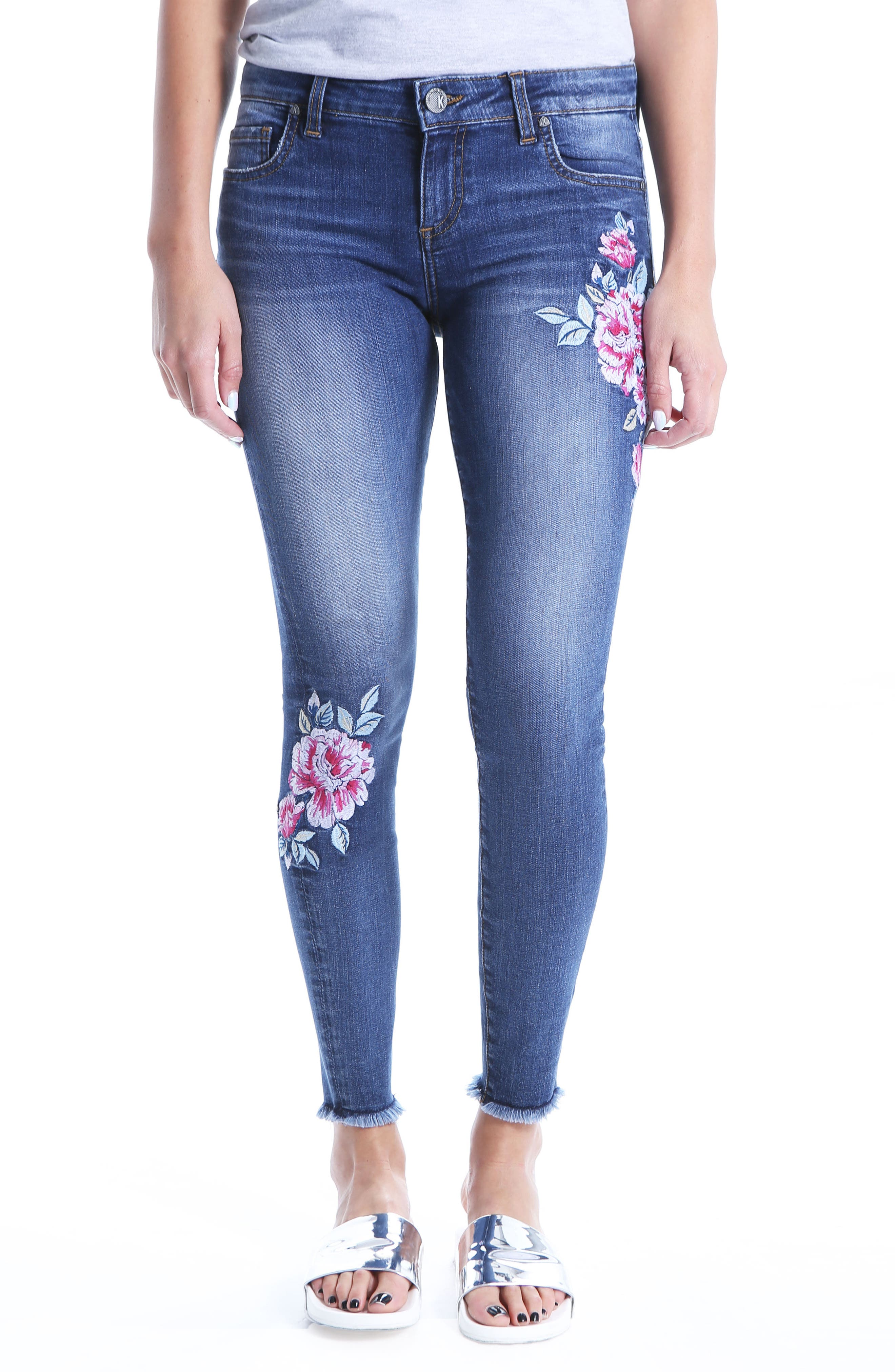 Connie Embroided Frayed Hem Ankle Skinny Jeans,                         Main,                         color, Assigned