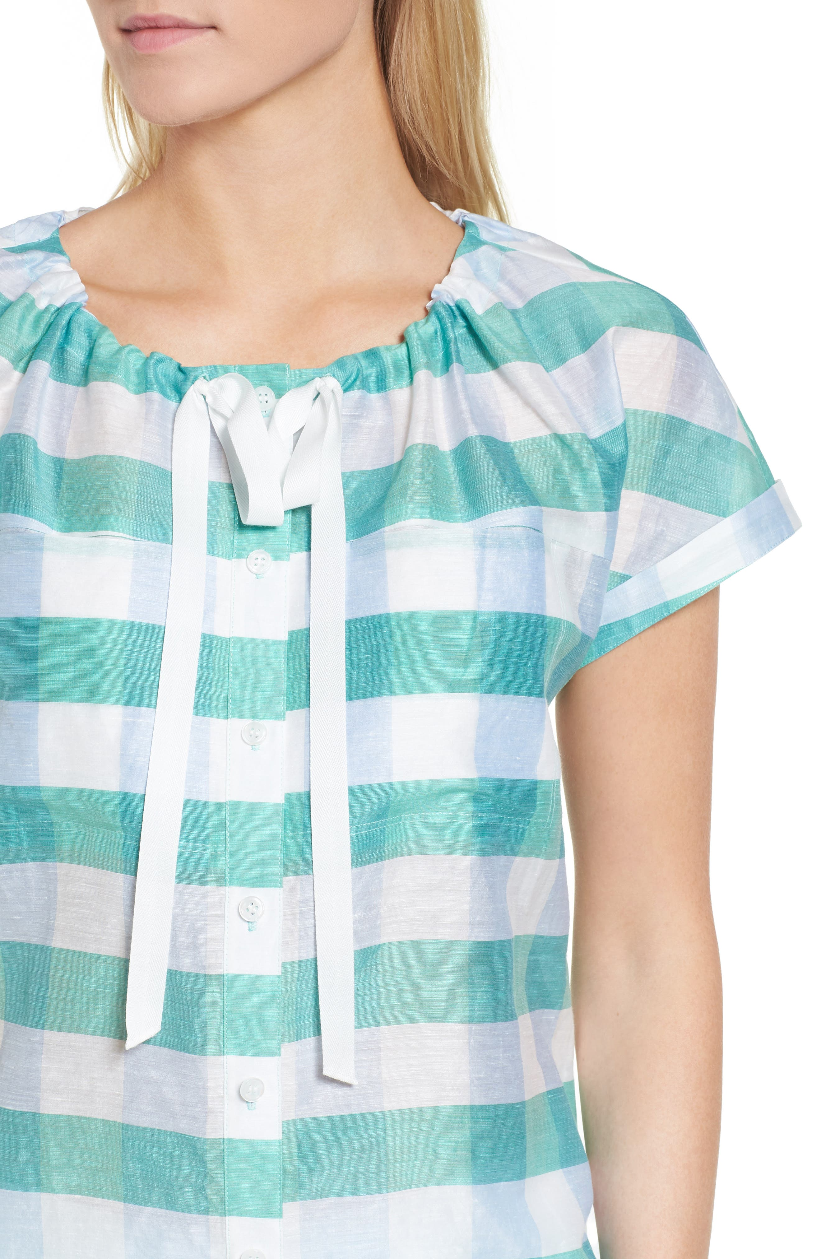 Tie Neck Check Top,                             Alternate thumbnail 4, color,                             Green- Blue Feather Check