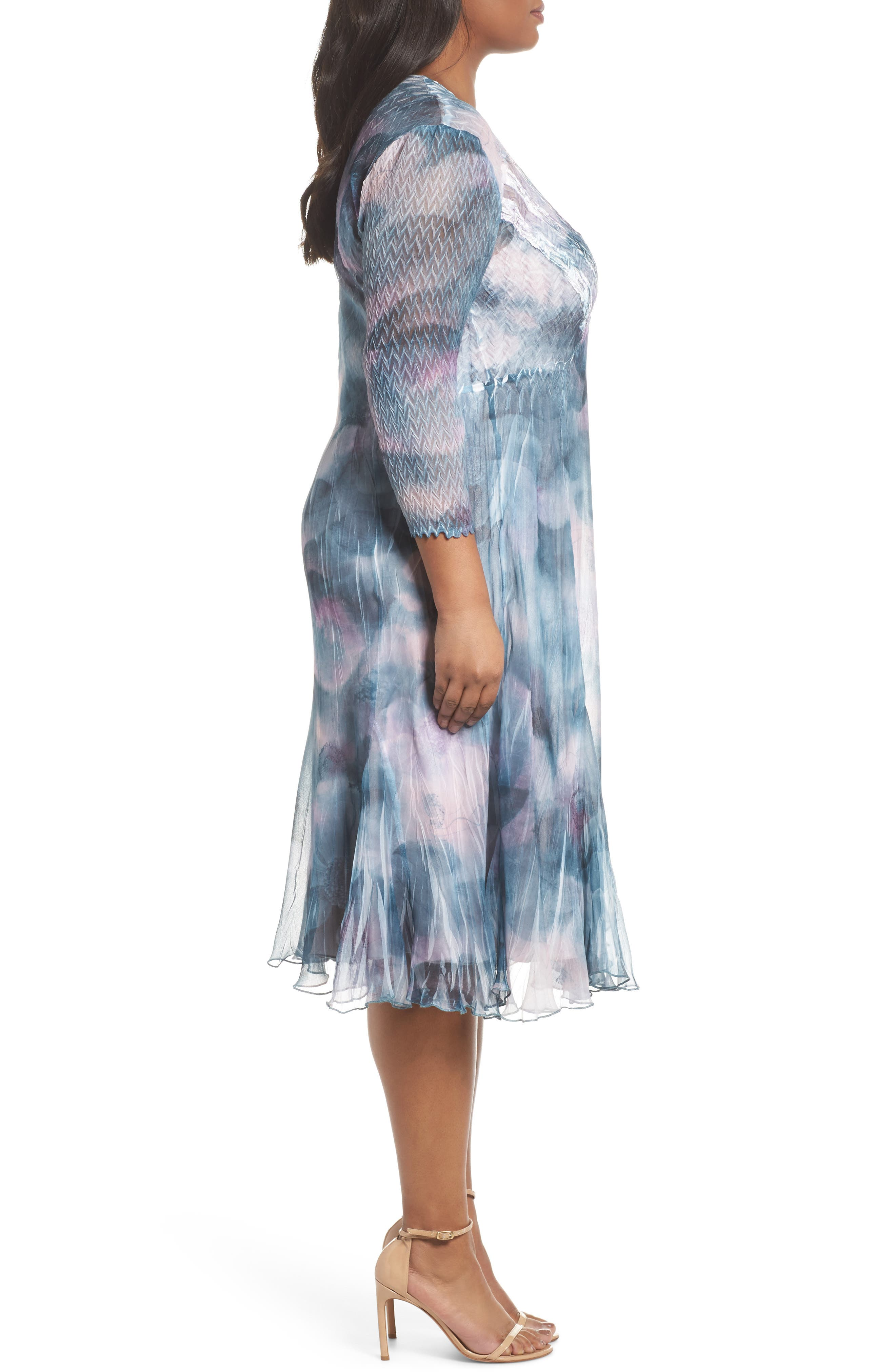 Floral Charmeuse & Chiffon A-Line Dress,                             Alternate thumbnail 3, color,                             Everglade Sky