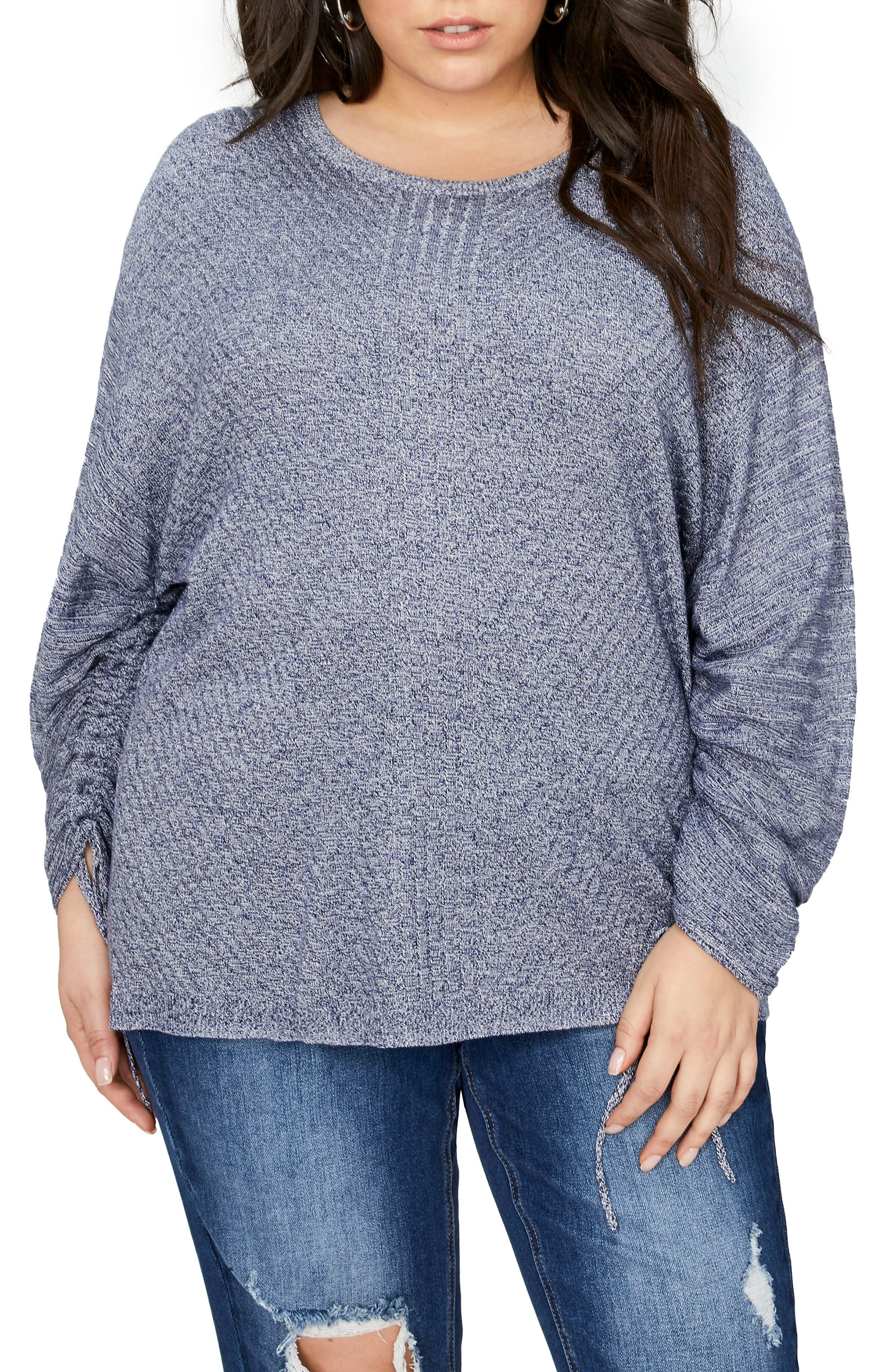 Drawcord Sleeve Sweater,                         Main,                         color, Egret Blue Print