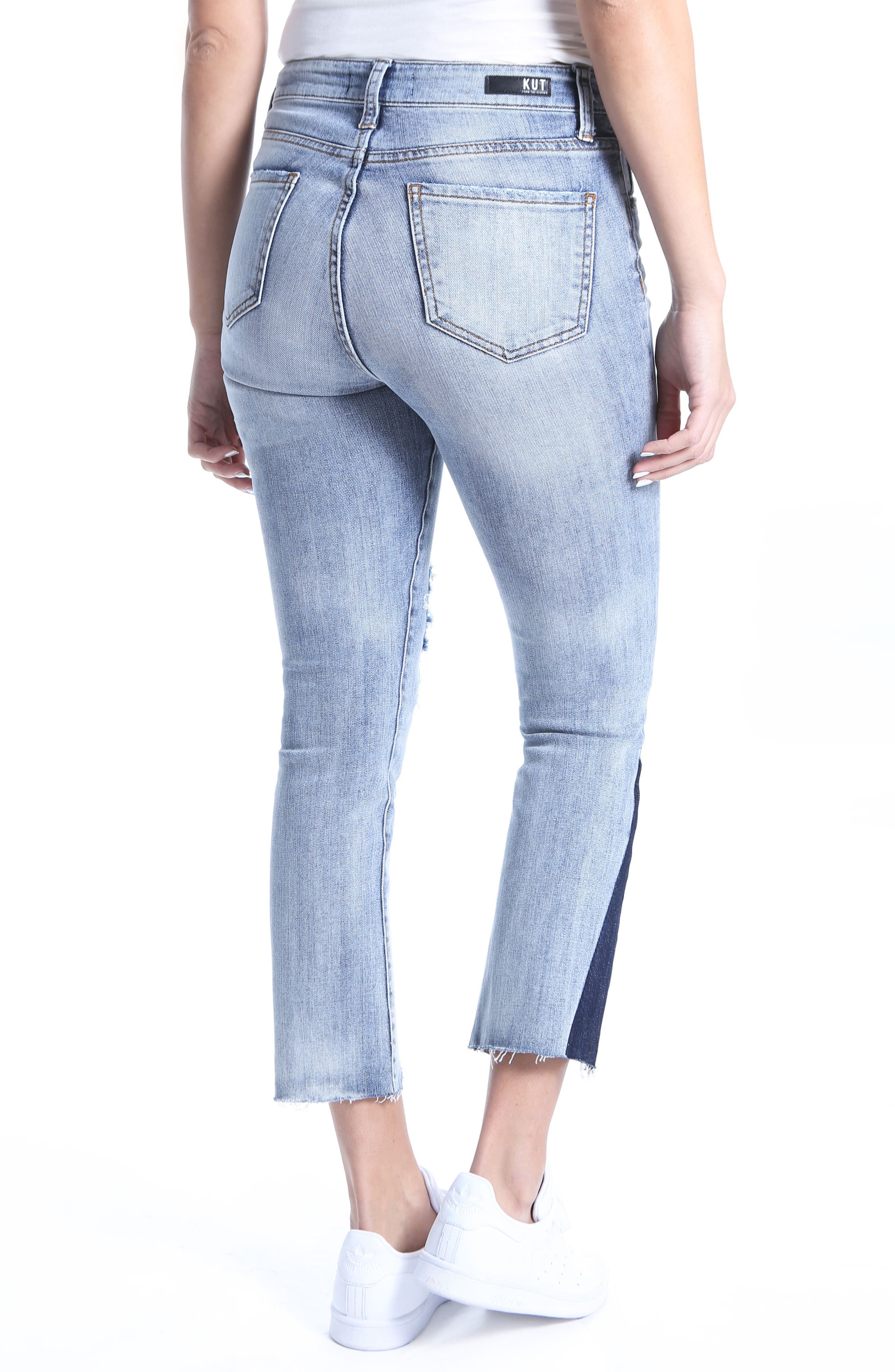Reese Dark Flare Inset Straight Leg Ankle Jeans,                             Alternate thumbnail 2, color,                             Secured
