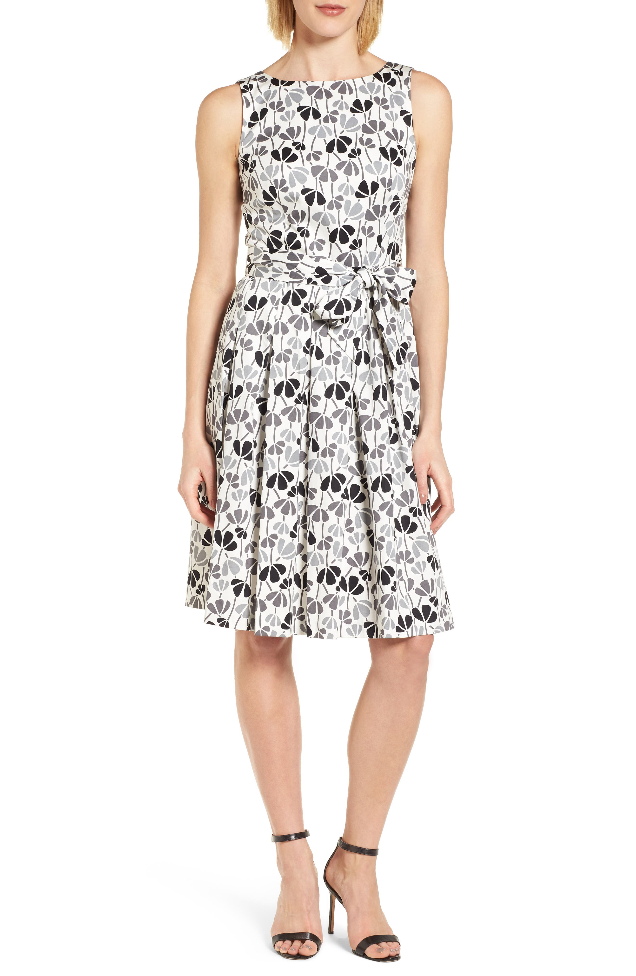 Flowerfall Fit and Flare Dress,                         Main,                         color, White/ Degas Grey Combo