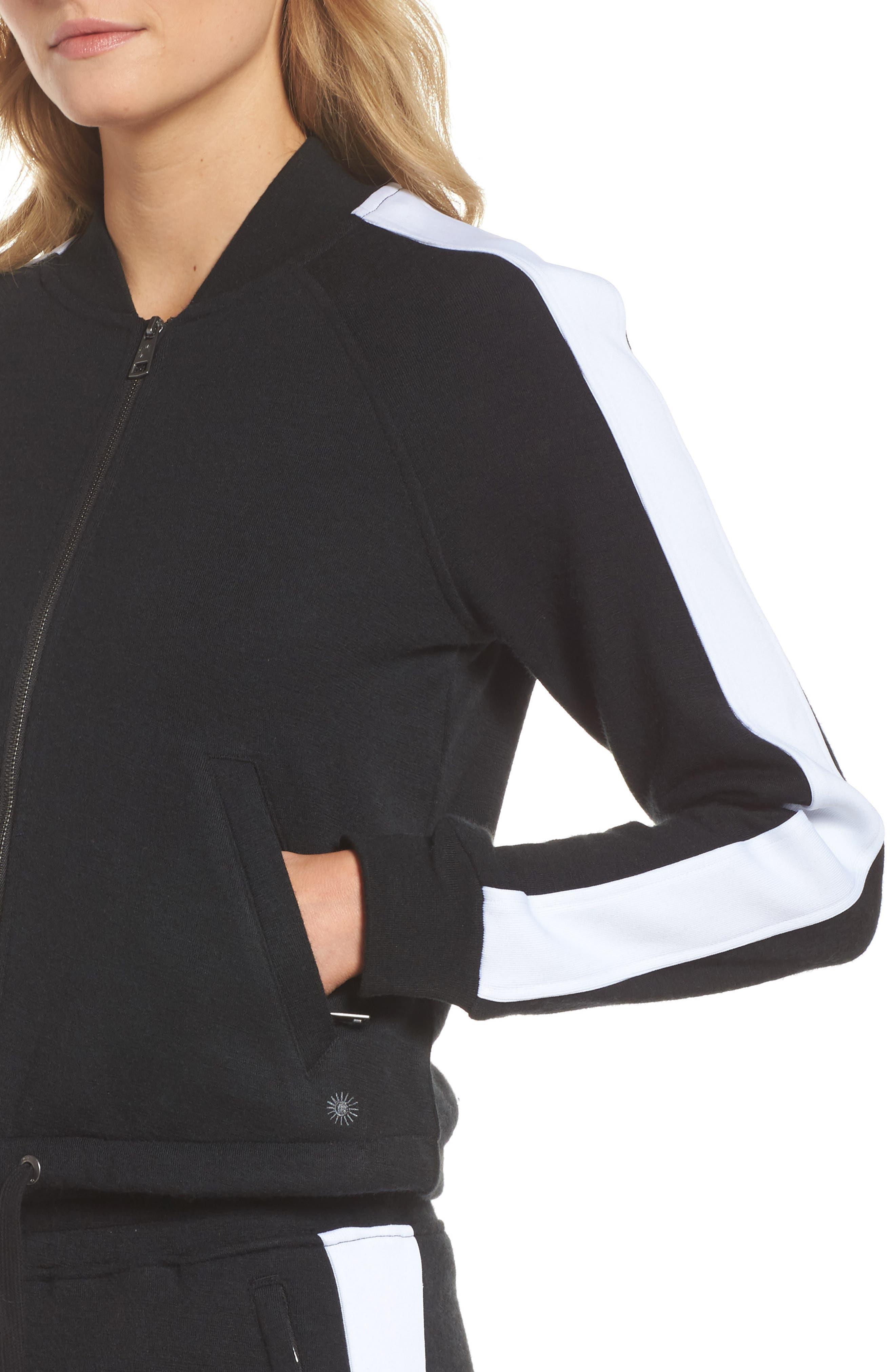 Lizy Track Jacket,                             Alternate thumbnail 6, color,                             Black