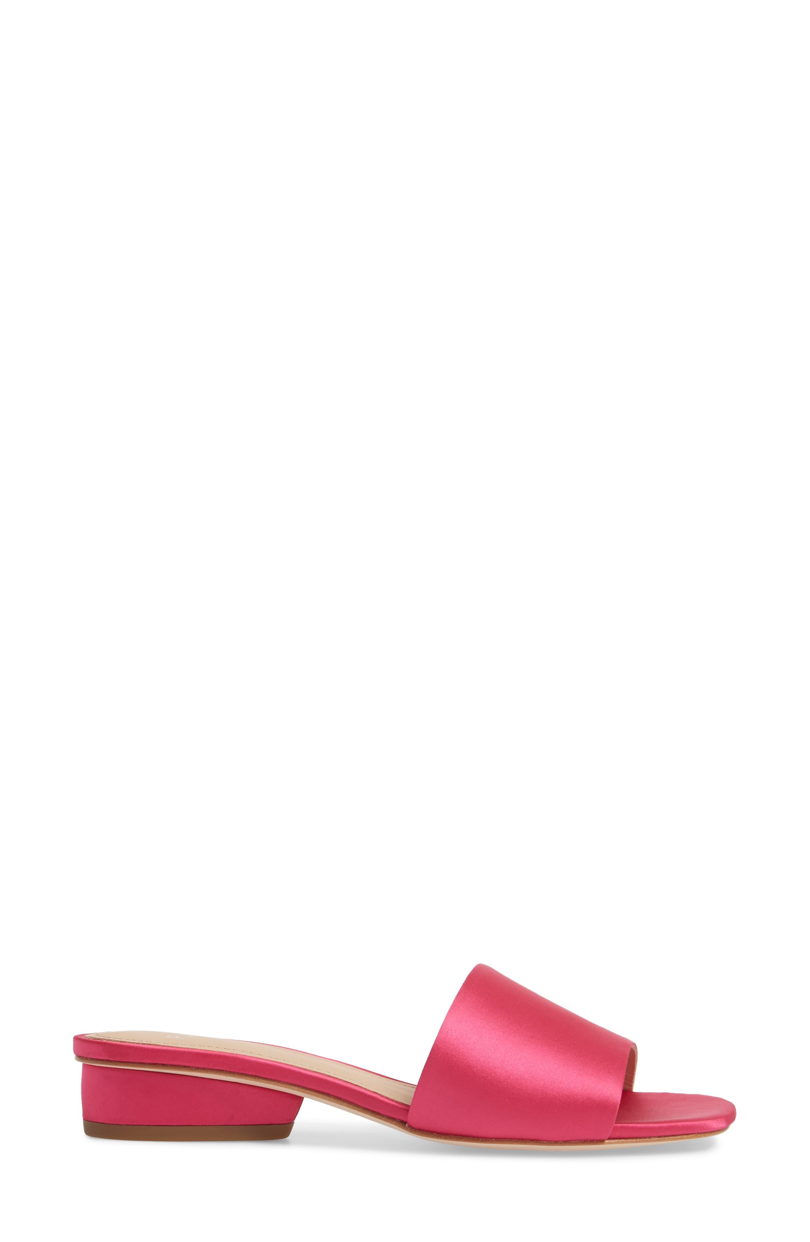 Mallory Slide Sandal,                             Alternate thumbnail 3, color,                             Azalea Satin