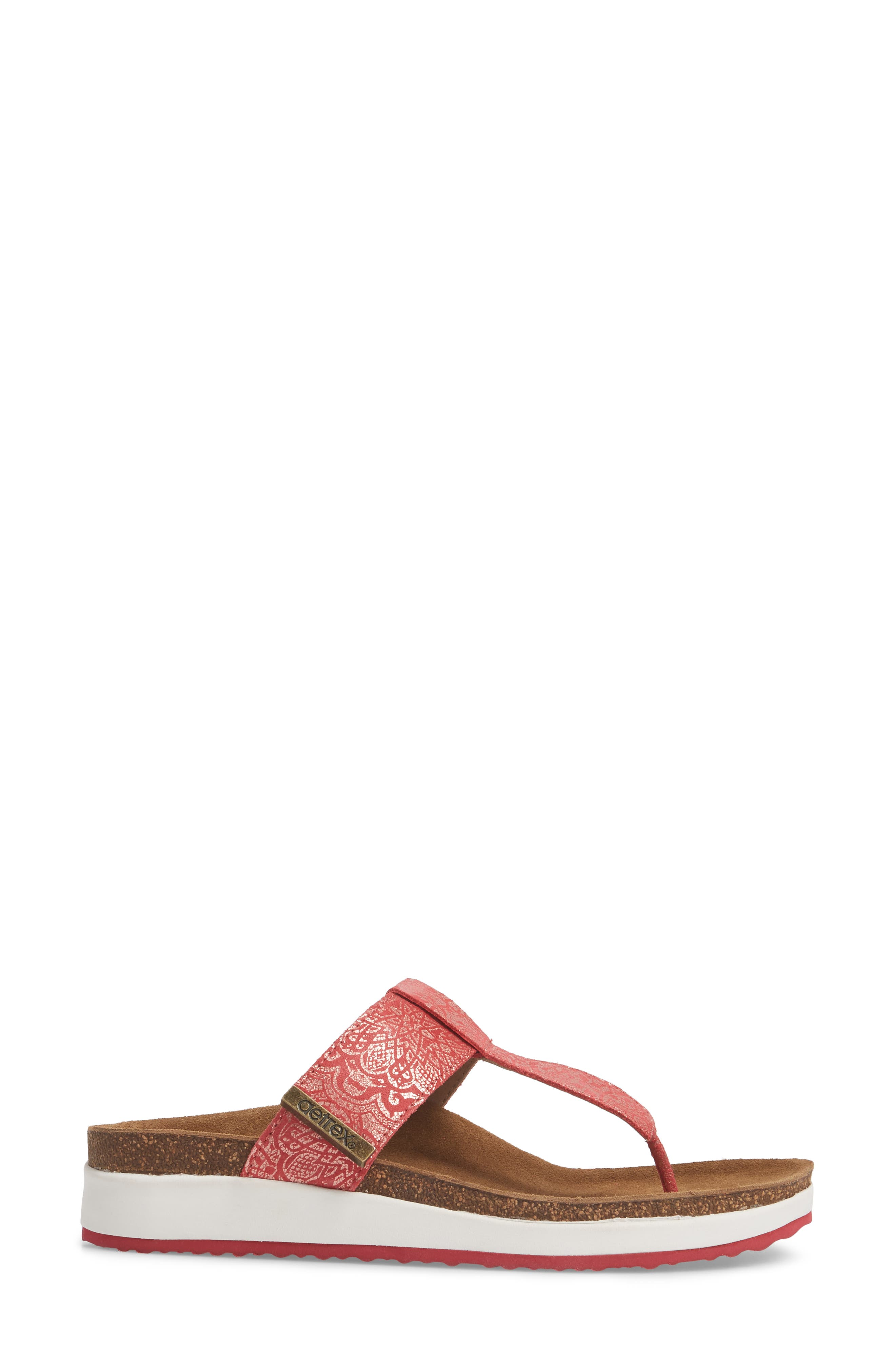 Phoebe Sandal,                             Alternate thumbnail 3, color,                             Red Metallic Leather