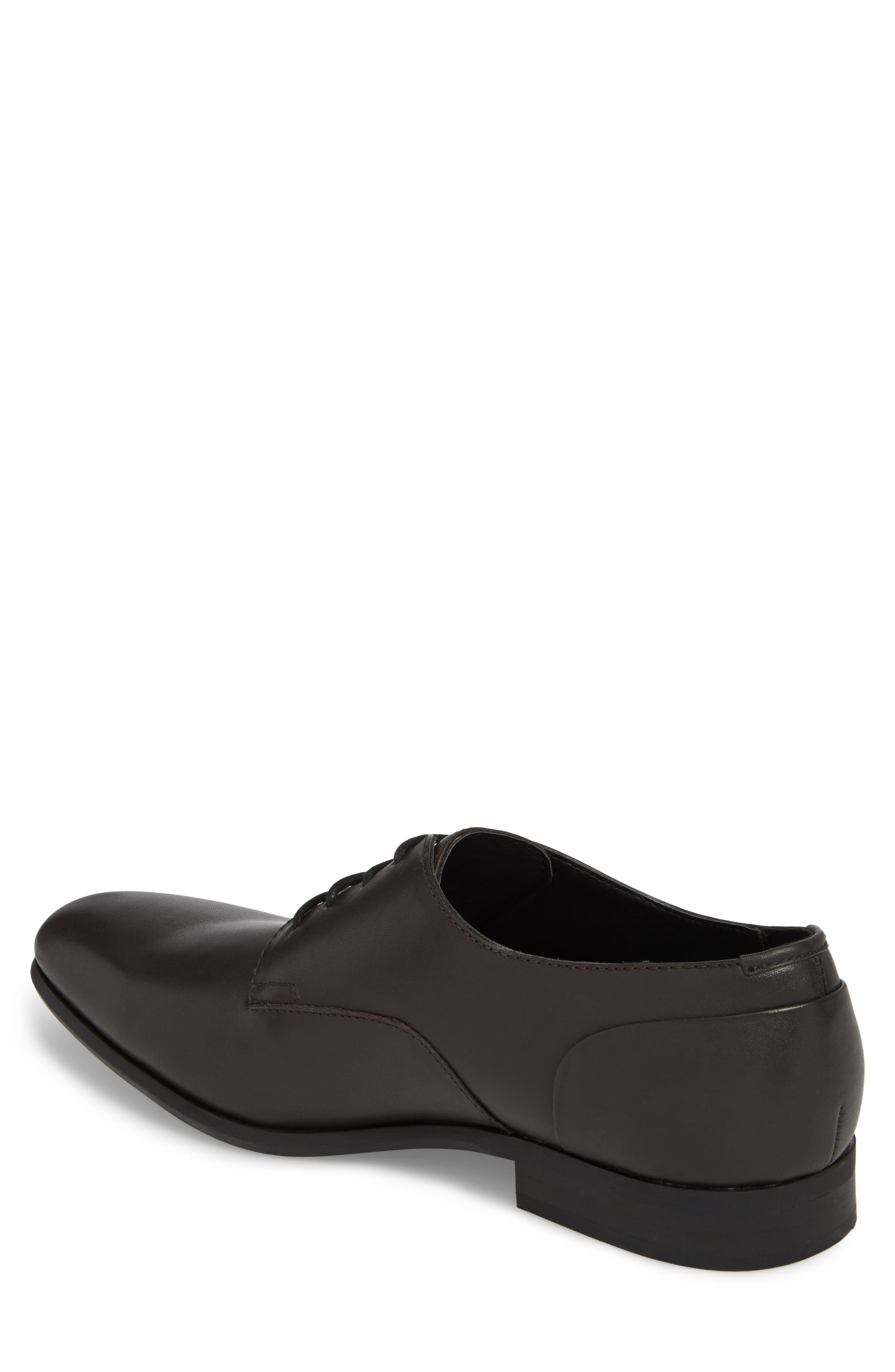 Lucca Plain Toe Derby,                             Alternate thumbnail 2, color,                             Dark Brown Leather