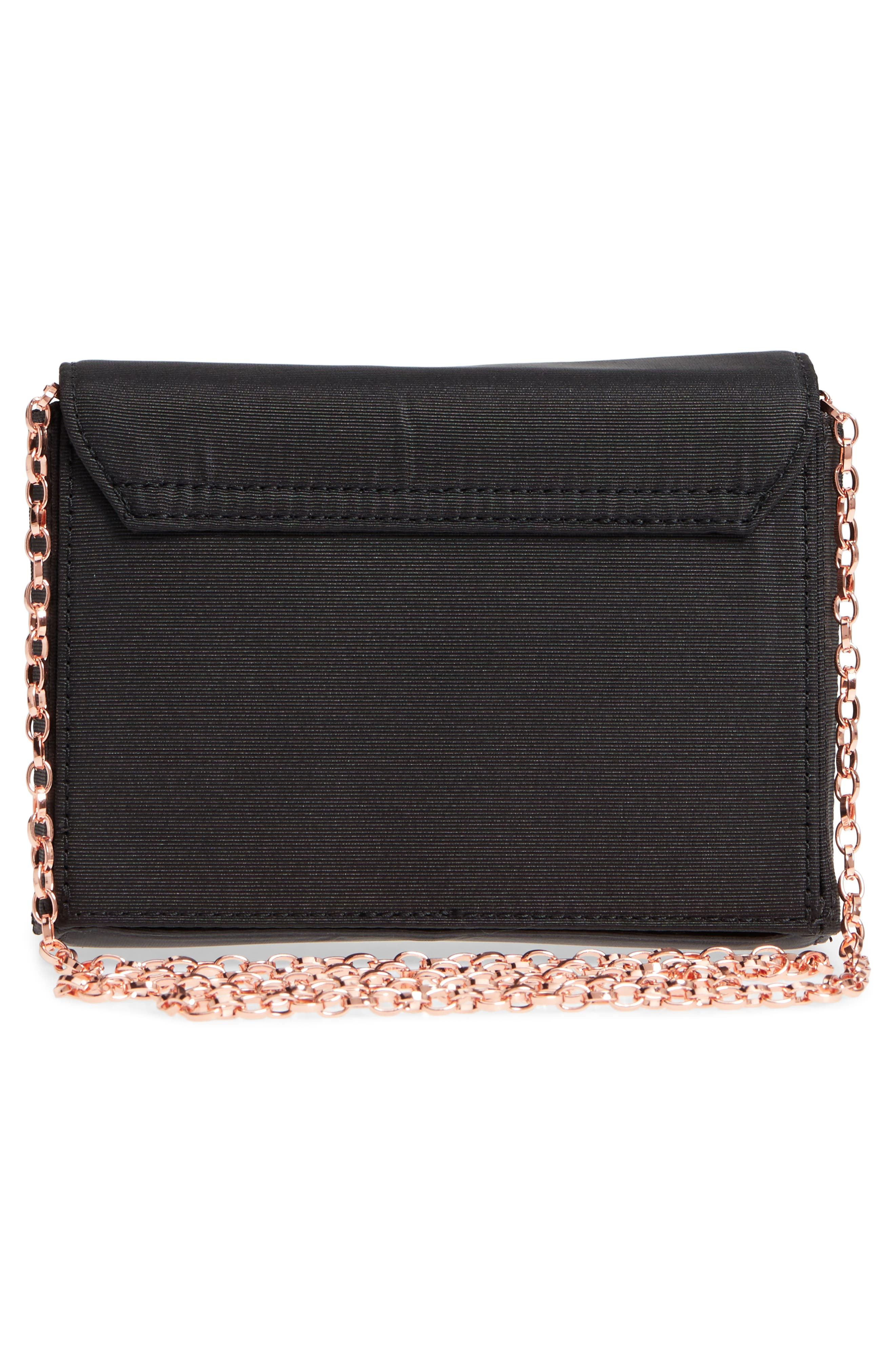 Looped Bow Clutch,                             Alternate thumbnail 3, color,                             Black