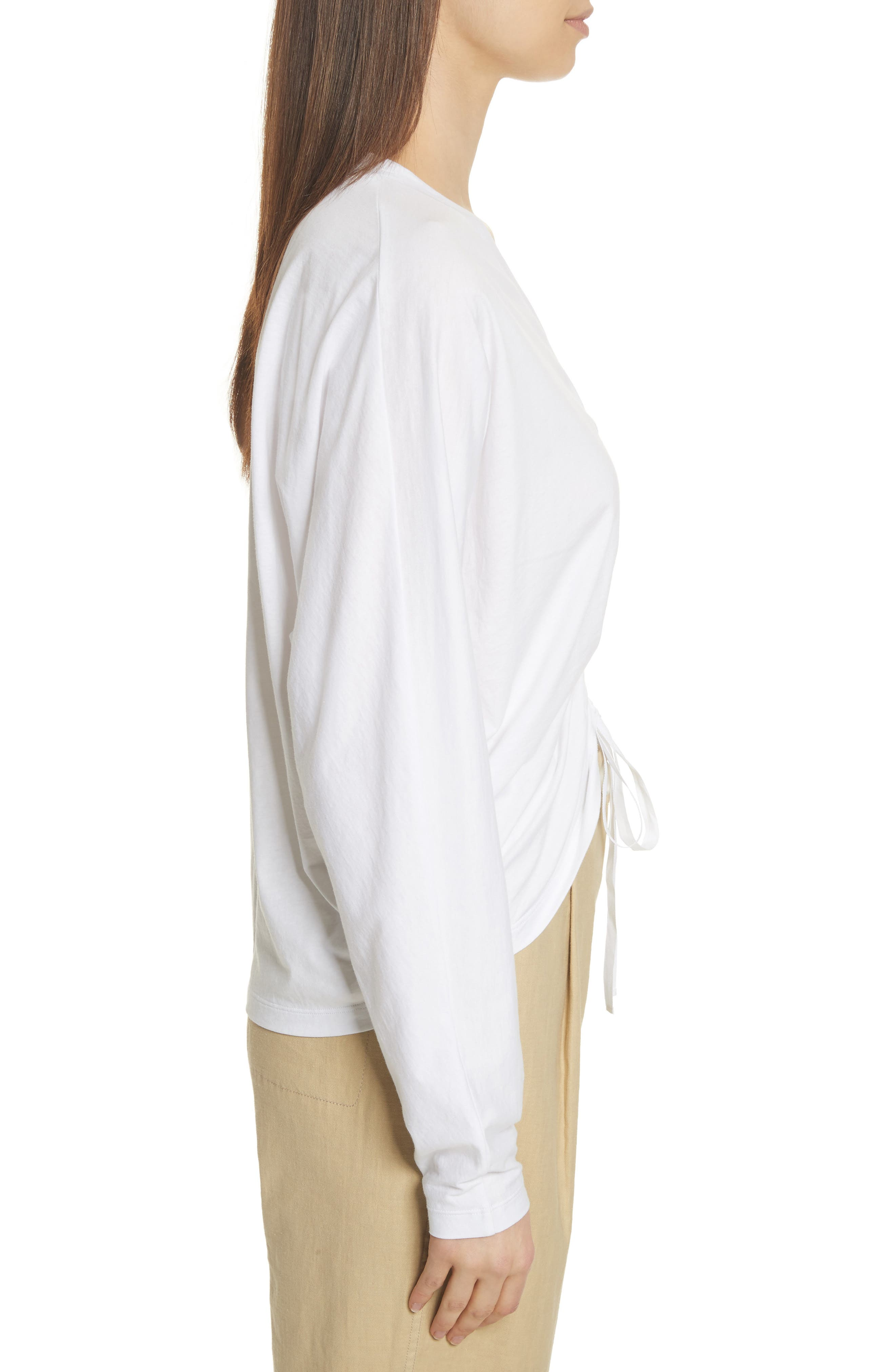 Ruched Front Tee,                             Alternate thumbnail 3, color,                             White