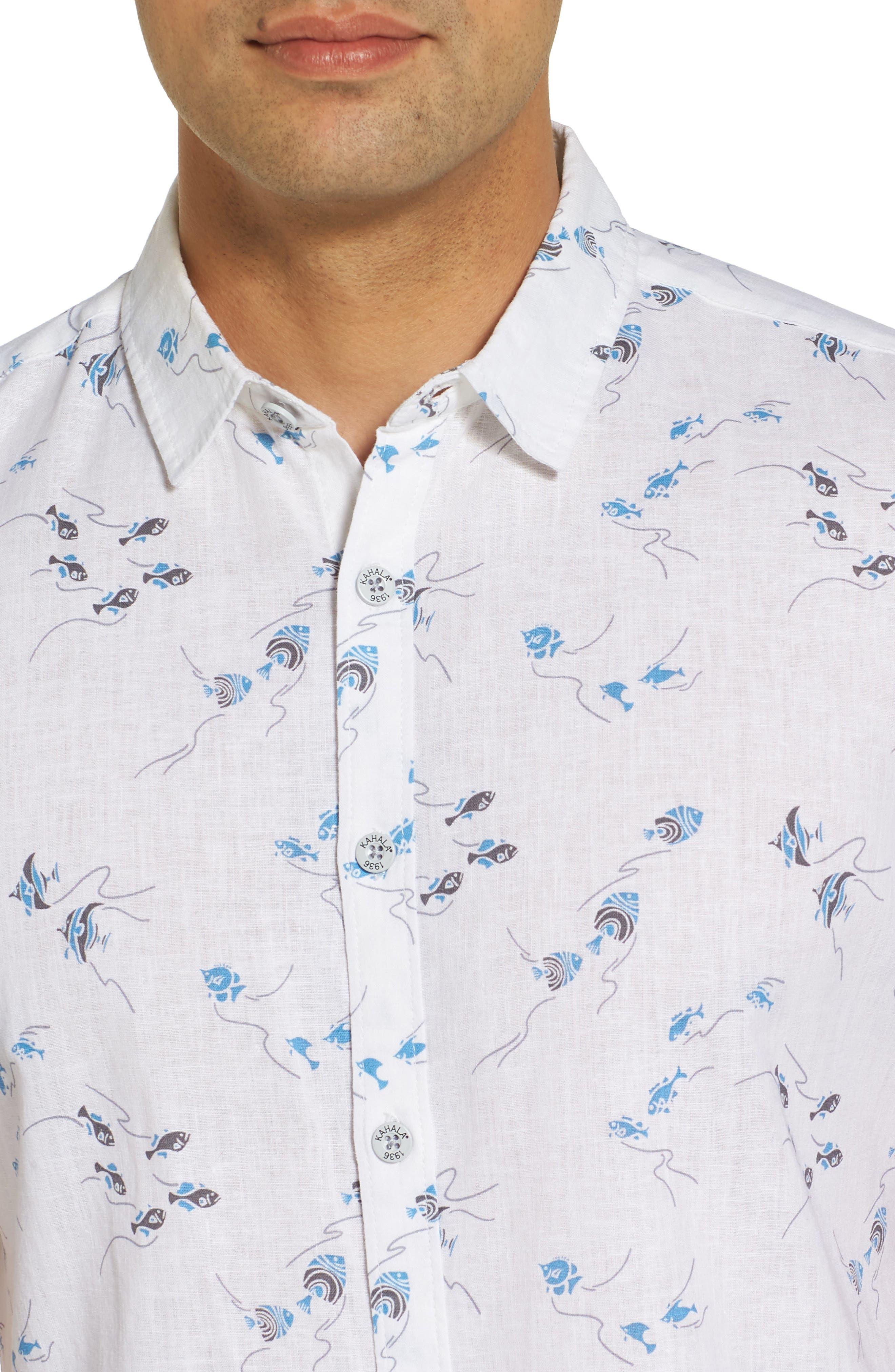 Swim School Standard Fit Linen Blend Camp Shirt,                             Alternate thumbnail 4, color,                             White