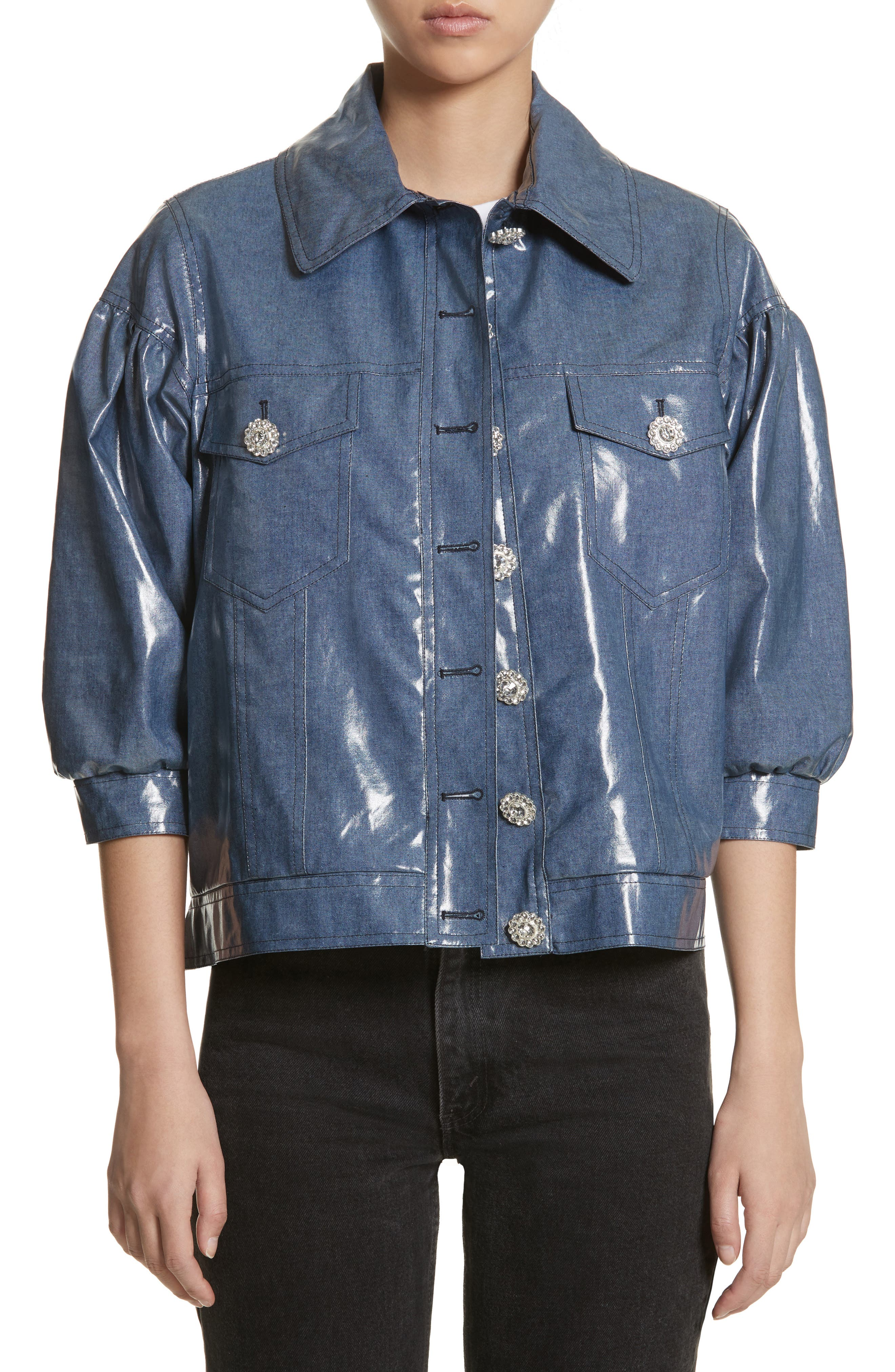 Luca Puff Sleeve Denim Jacket,                         Main,                         color, Navy