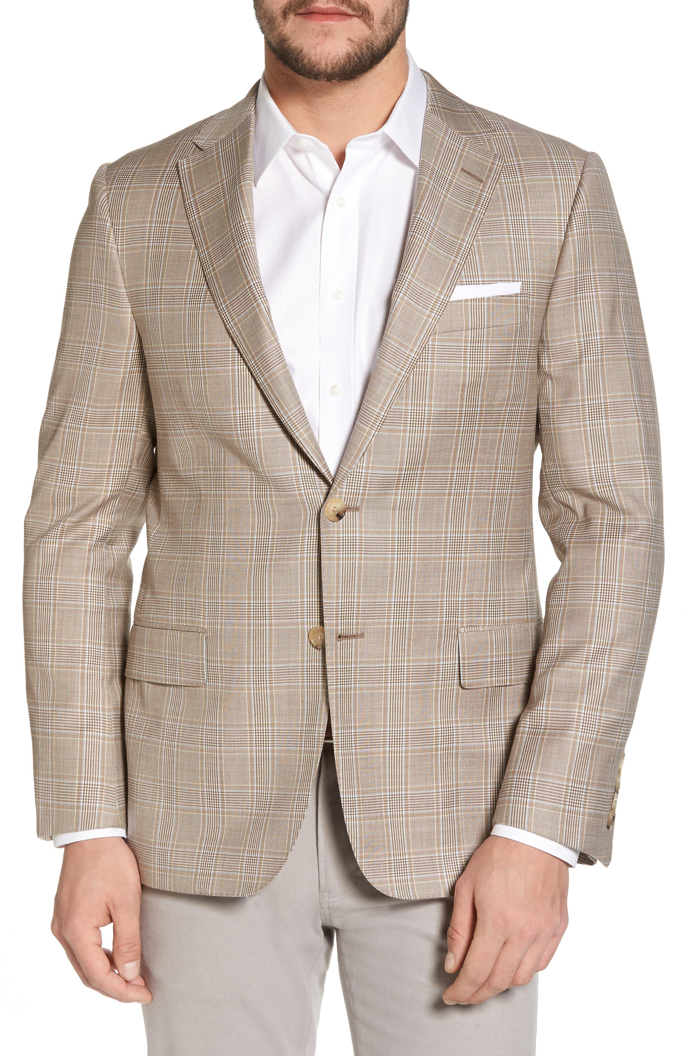 Classic B Fit Plaid Wool Sport Coat,                         Main,                         color, Beige