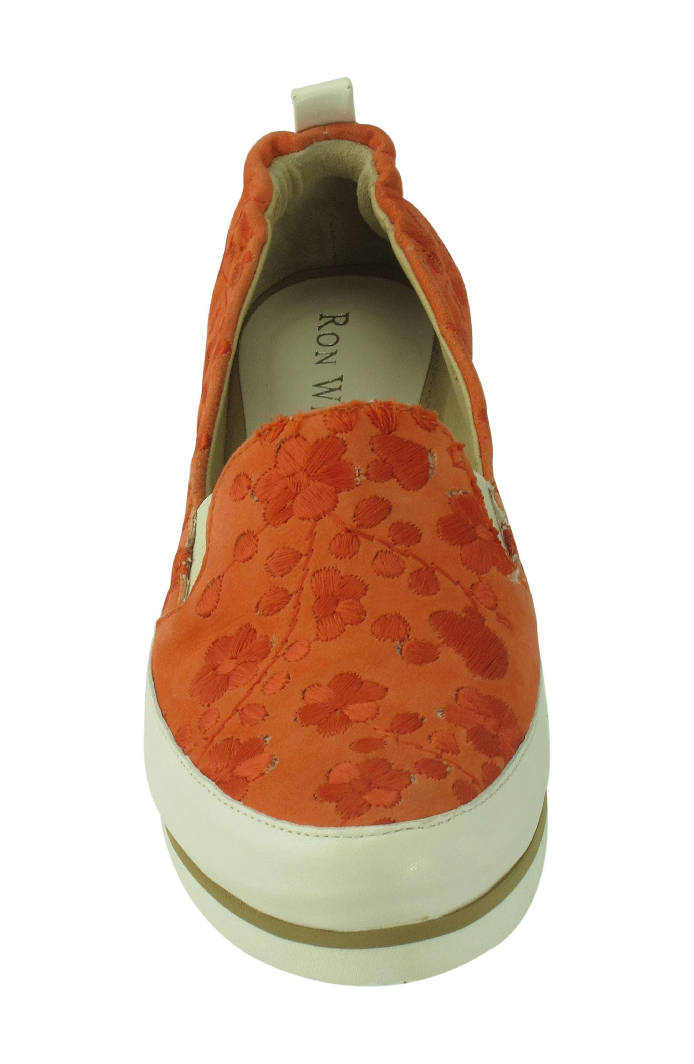 Nell Slip-On Sneaker,                             Alternate thumbnail 3, color,                             Tangerine Suede