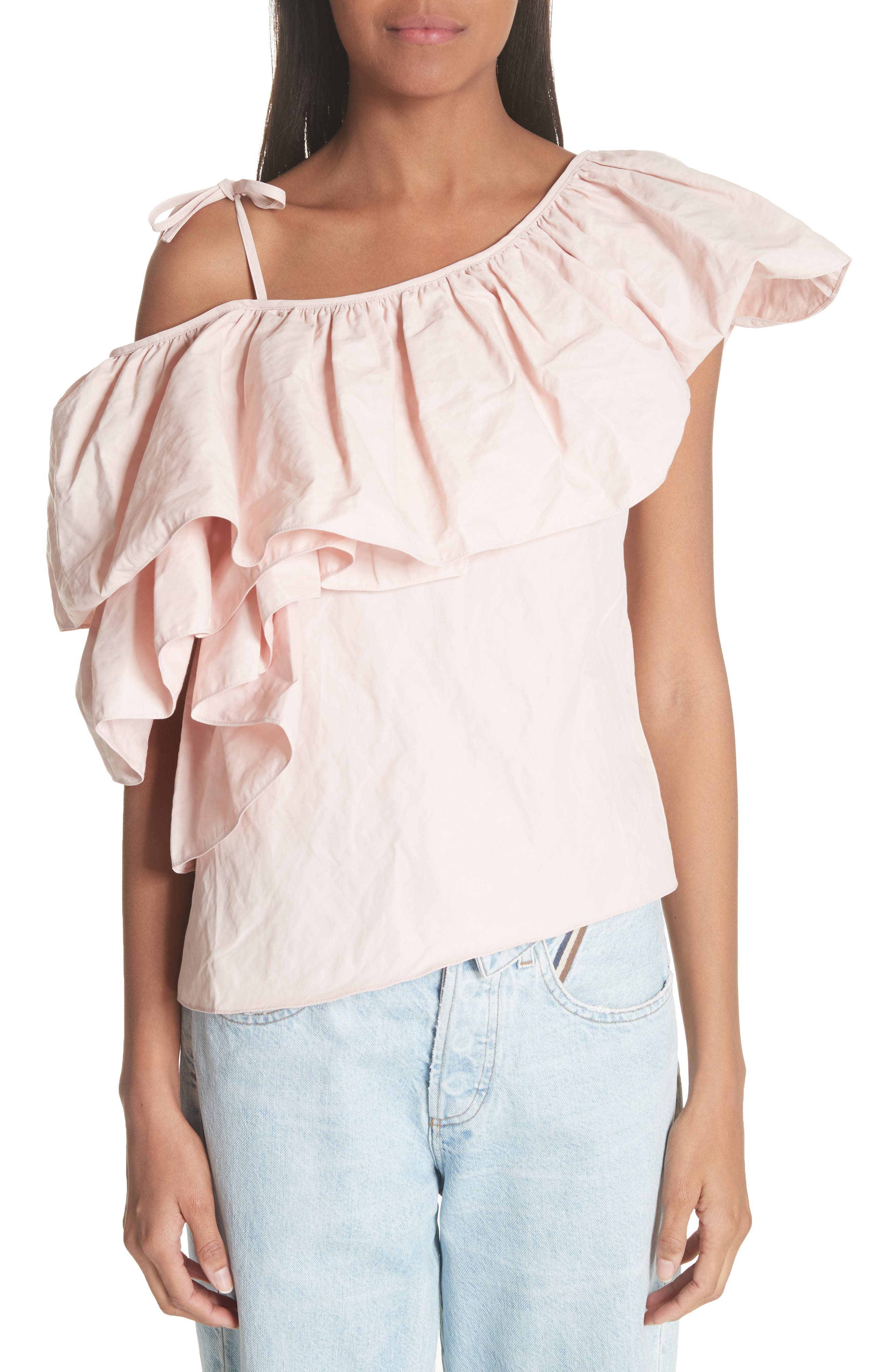 Marques'Almeida One Shoulder Ruffle Top,                             Main thumbnail 1, color,                             Pale Pink