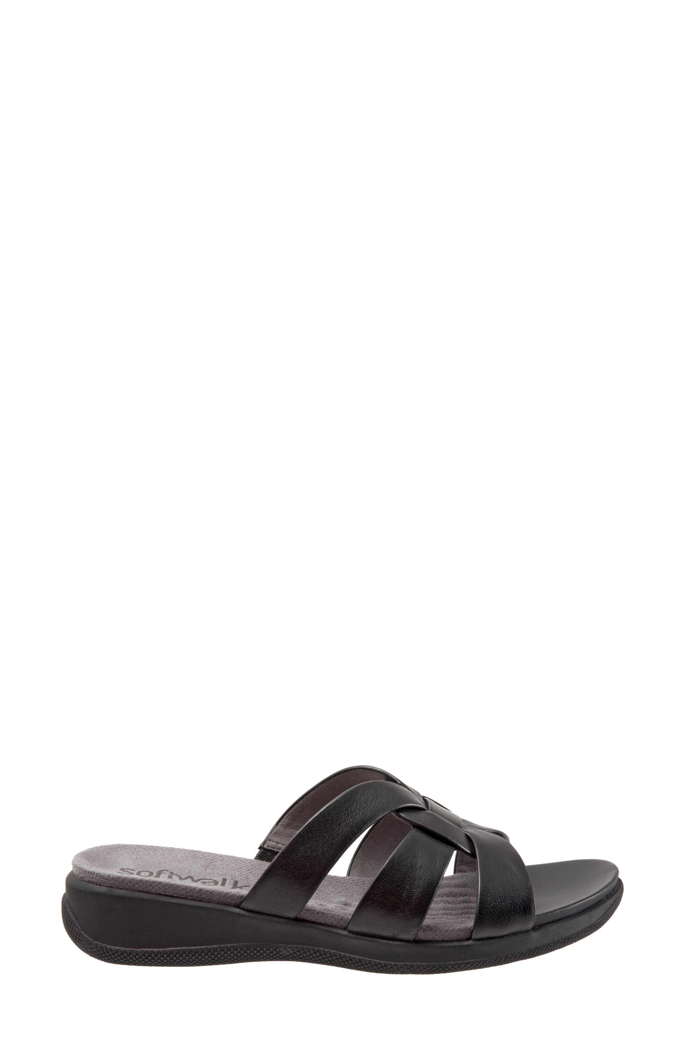Thompson Slide Sandal,                             Alternate thumbnail 3, color,                             Black Leather