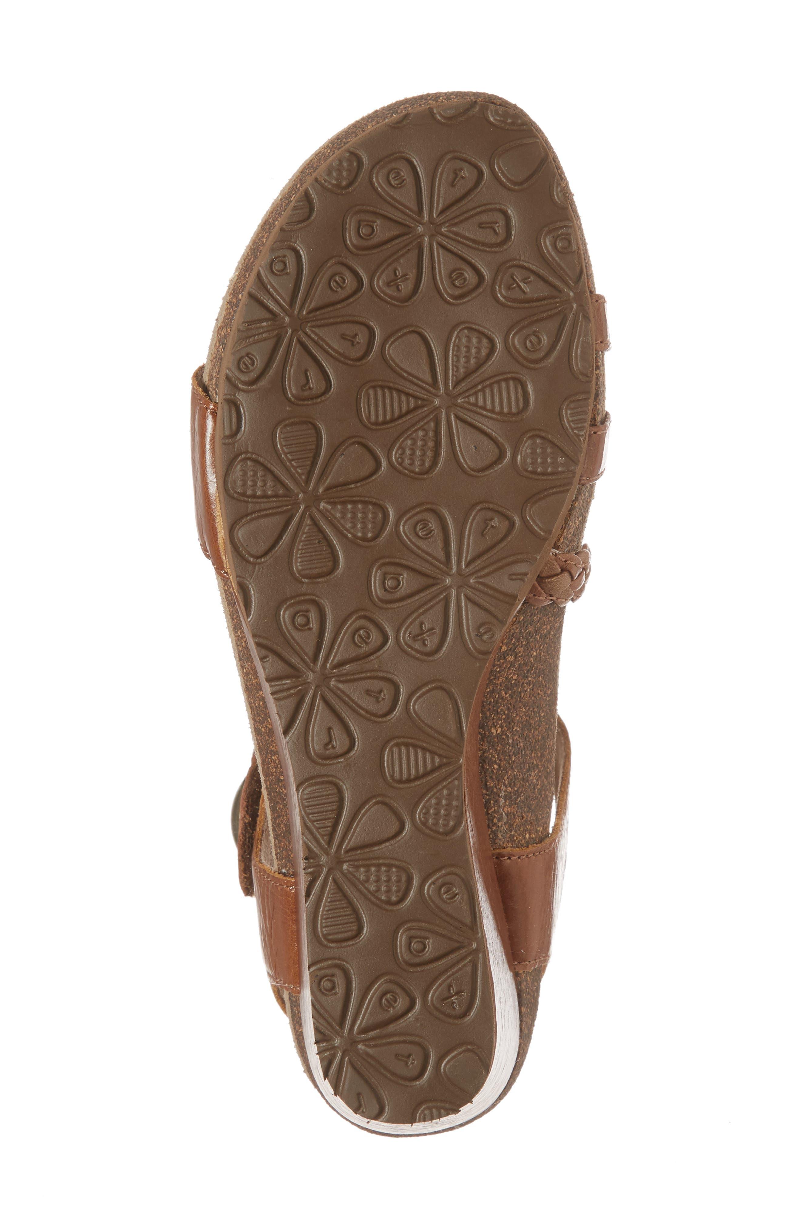 'Naya' Wedge Sandal,                             Alternate thumbnail 6, color,                             Cognac Leather